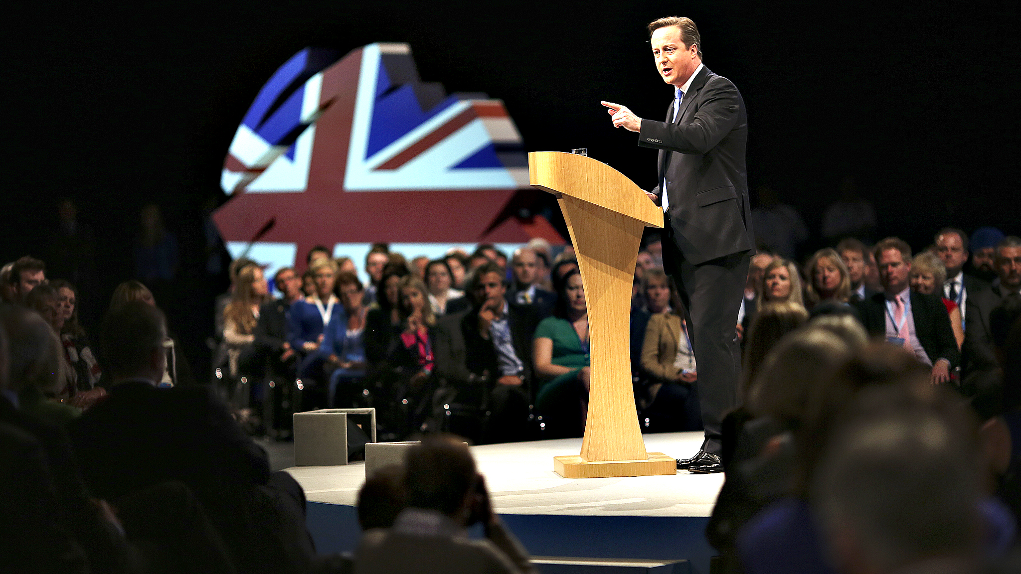 Leader of the Conservative Party and Prime Minister, David Cameron, delivers his keynote speech to close the conference in Manchester.