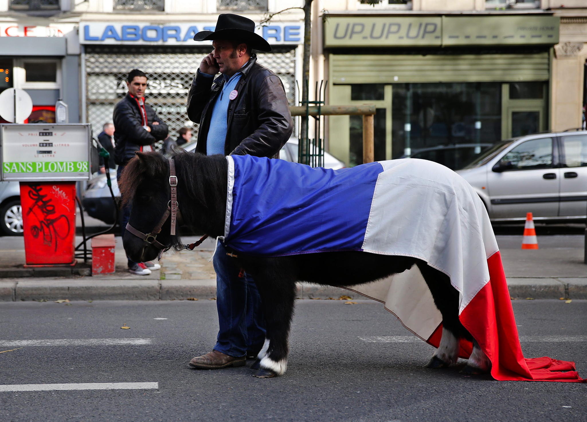 A horse draped with a French tricolour is seen amid protesters in Paris during a demonstration against a new government bill increasing VAT from 7 percent to 20 percent for equestrian centres.