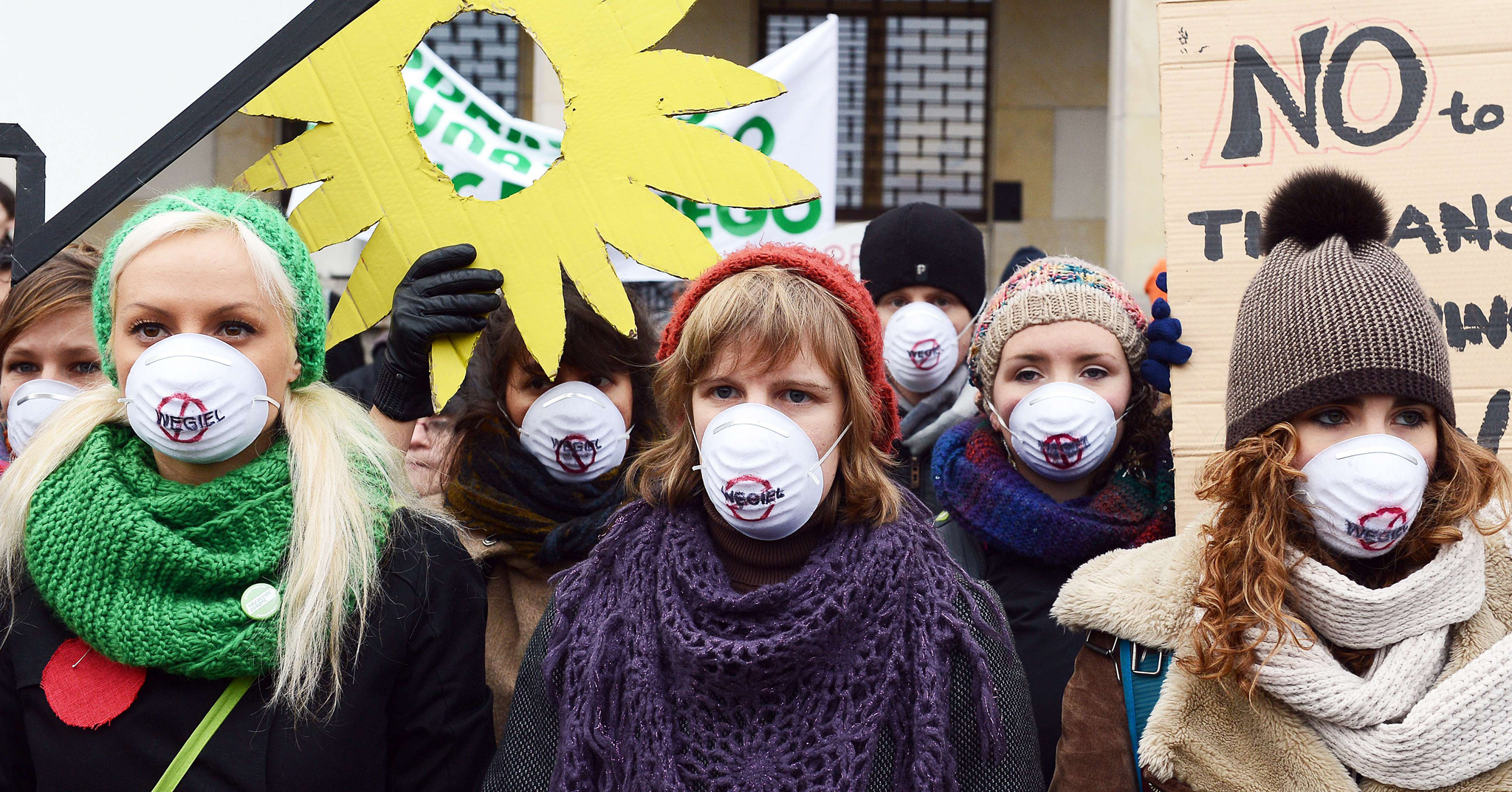 Young environmentalists from international organizations protest in front of the Polish Ministry of Economy in Warsaw, where the Coal and Climate Summit is taking place. Poland's dependence on the cheap and plentiful coal means it ranks fifth for carbon dioxide (CO2) pollution in the European Union, behind Germany, Britain, Italy and France, whose economies are far larger.