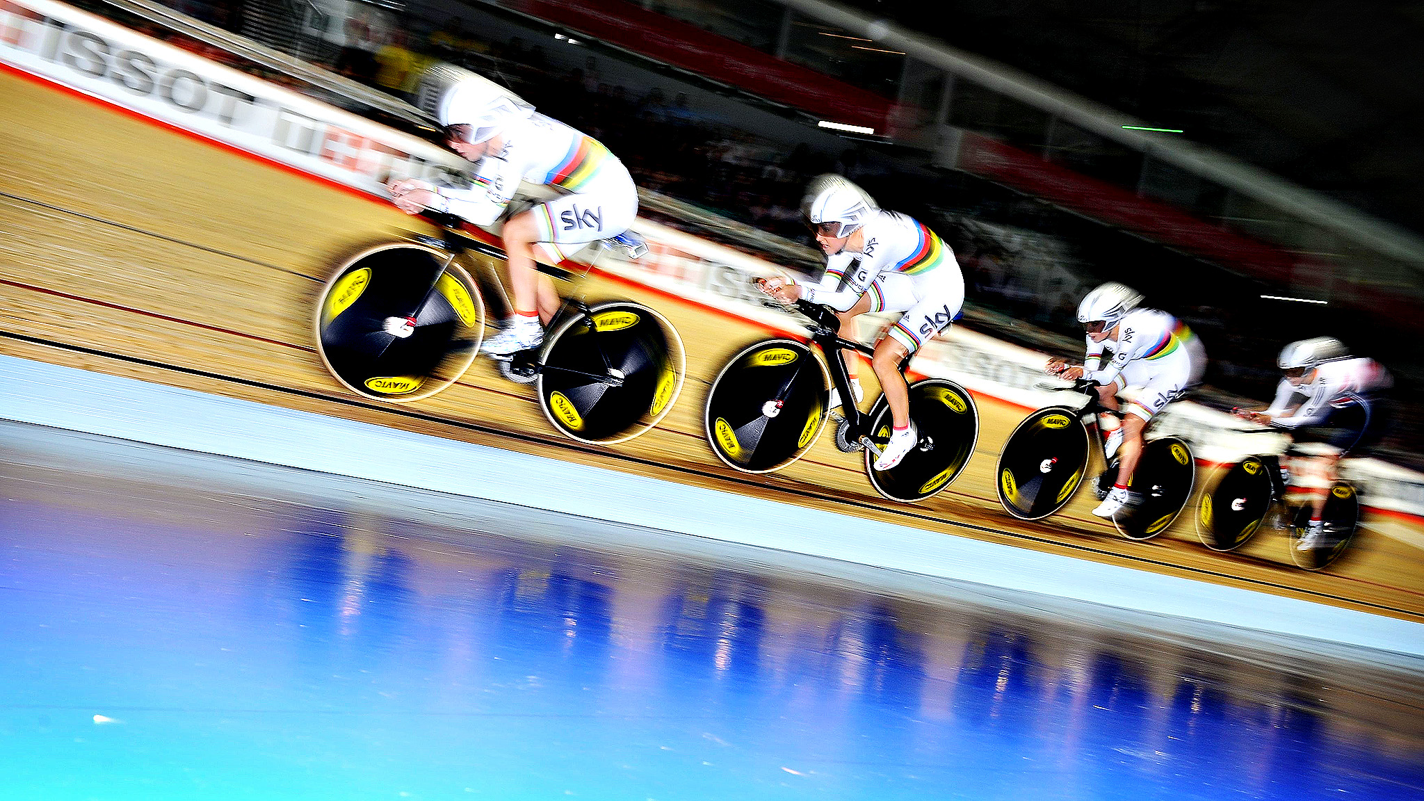 Great Britian's (left to Right) Laura Trott, Dani King, Elinor Barker and Joanna Rowsell, on their way to breaking the world record in the Women's Team , Pursuit during day one of the 2013 UCI Track Cycling World Cup at the National Cycling Centre, Manchester.