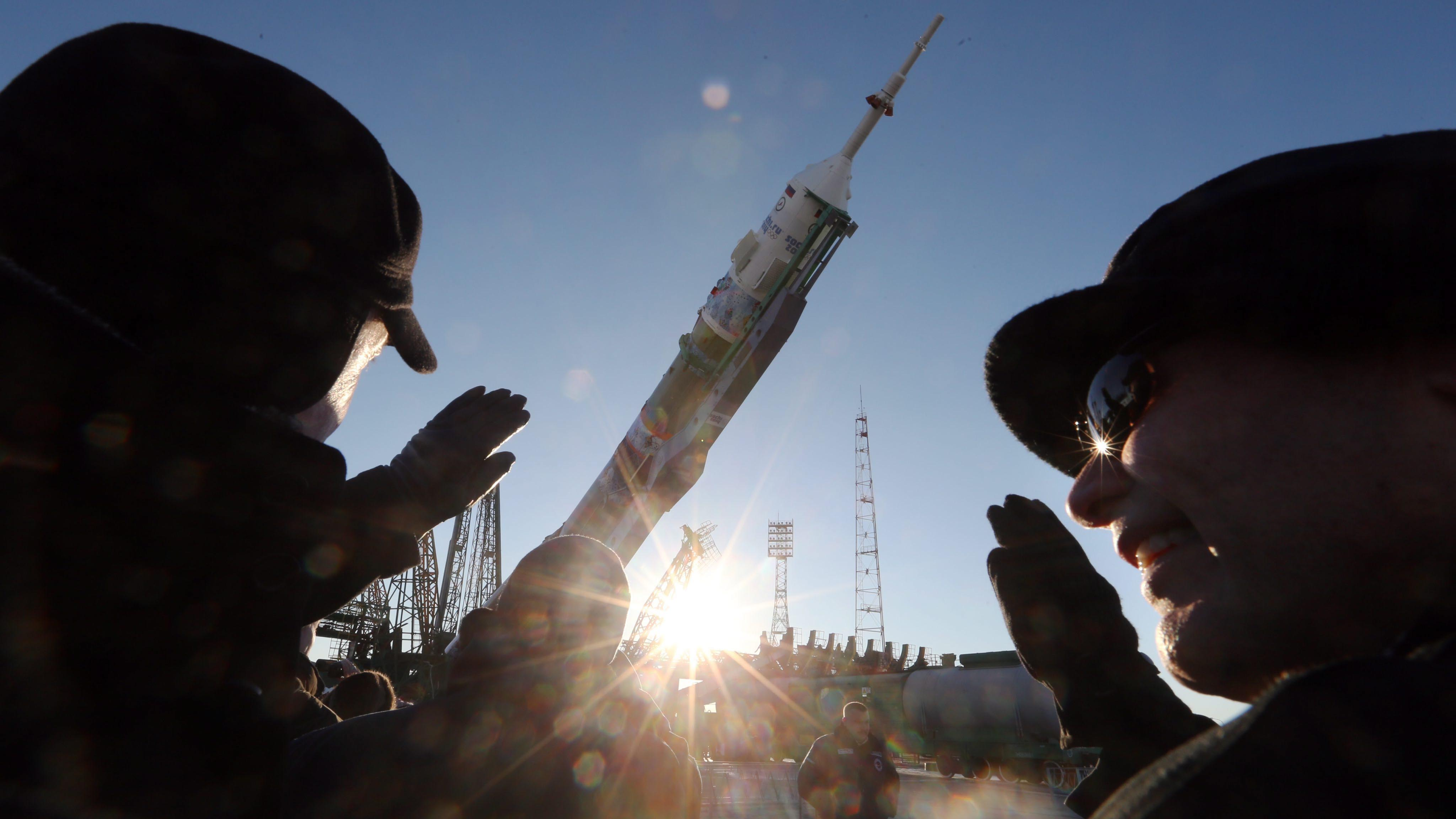 Soyuz TMA-11M spacecraft, moved for installation at a launch pad at a cosmodrome in Baikonur