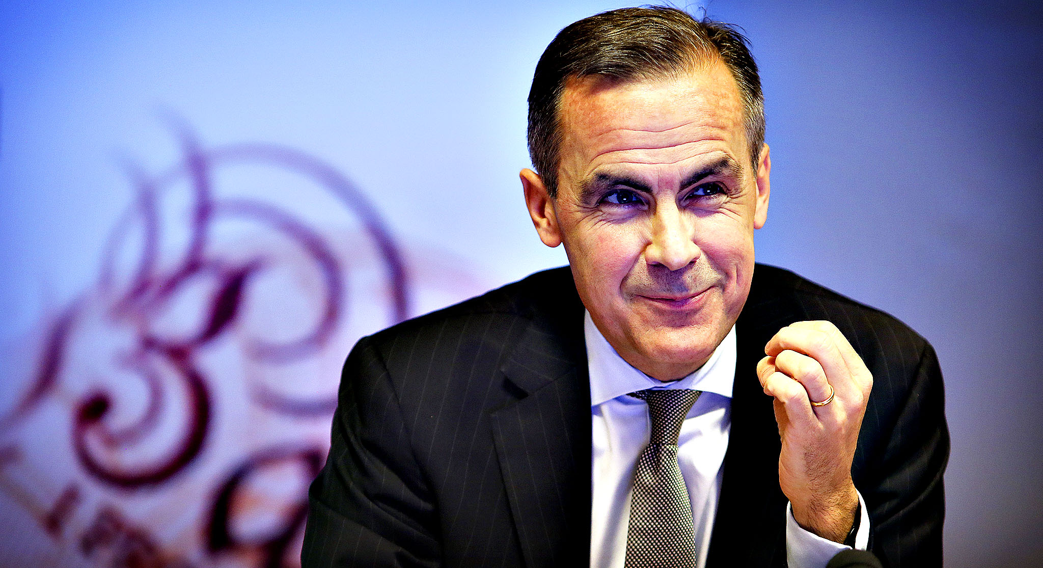Bank of England governor, Mark Carney, conducts the quarterly inflation report press conference in the Bank of England this morning.