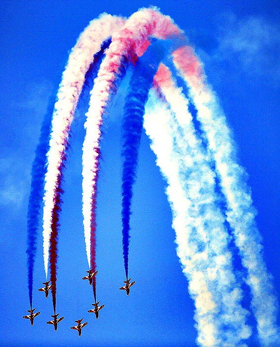 Britain's Royal Air Force Aerobatic Team, The Red Arrows, performs at the Dubai Airshow on November 18, 2013, in the Emirate of Dubai. Emirates Airline's appetite for aircraft purchases will not cease, the airline's president Tim Clark told AFP a day after the Dubai-based carrier ordered 200 planes from Boeing and Airbus.