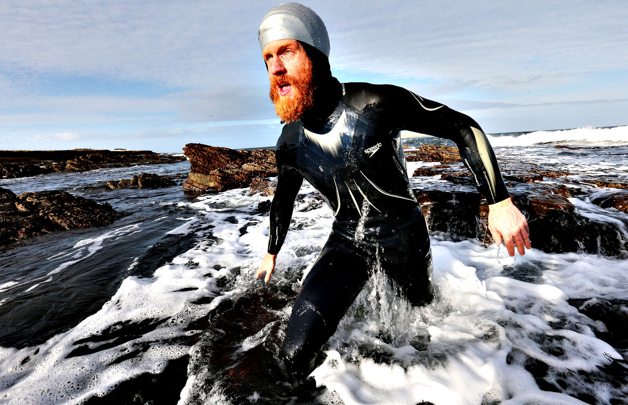 Charity swimmer Sean Conway, 32, arriving at John O'Groats, in the north of Scotland, after being the first person to swim from Lands End to John O'Groats.