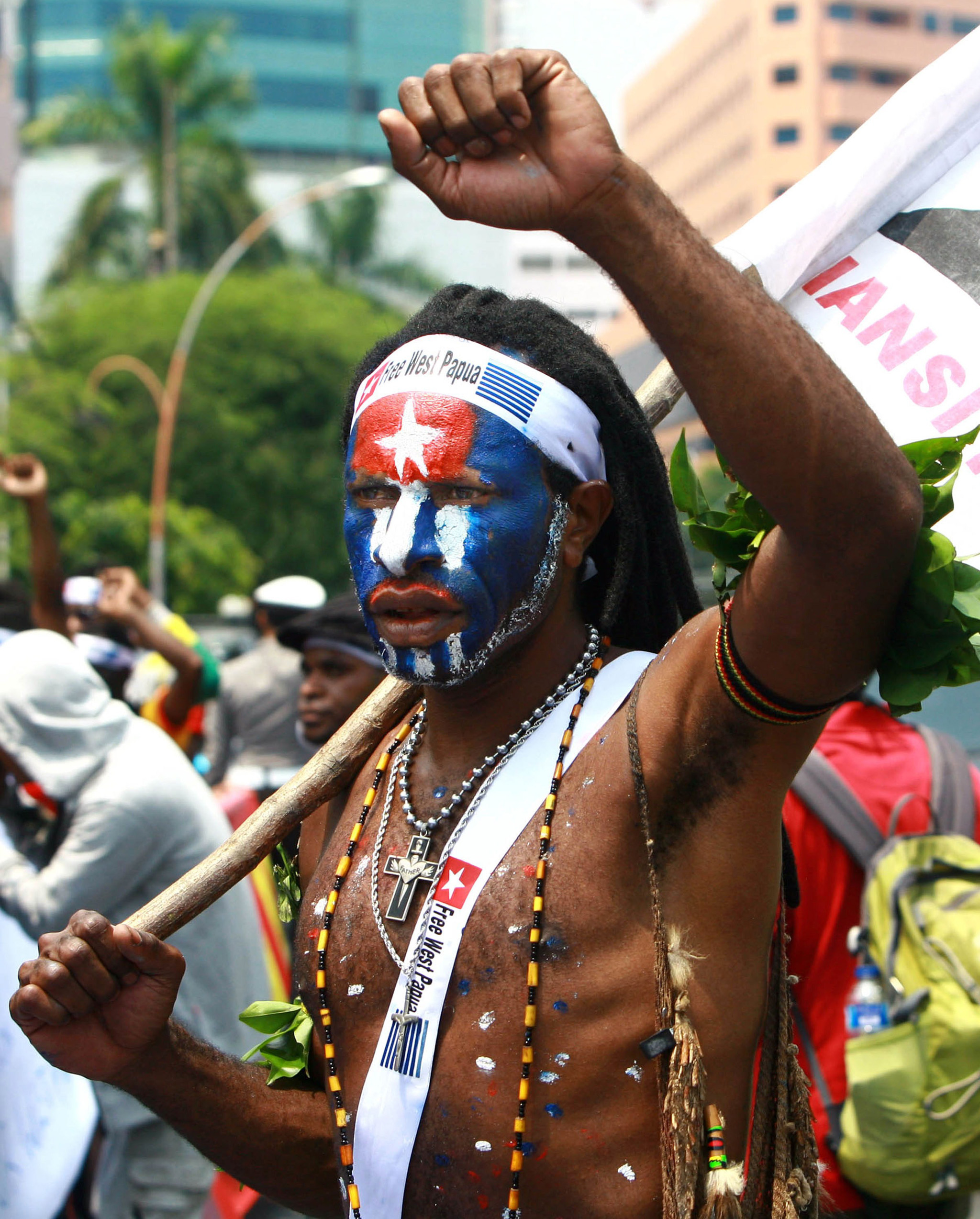 Papuan student takes part on a rally in Surabaya, East Java province, demanding the freedom of West Papua province. Papua declared independence from the Dutch in 1961, but neighbouring Indonesia took control of the region with force in 1963.