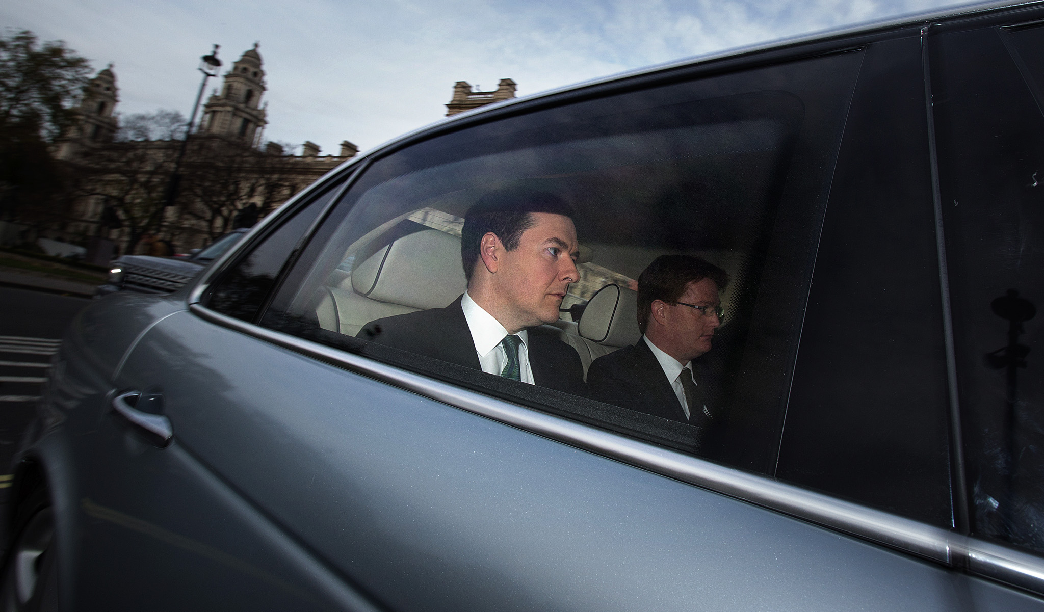 Chancellor of the Exchequer, George Osborne and Chief Secretary to the Treasury, Danny Alexander make their way to the commons to deliver their autumn statement.