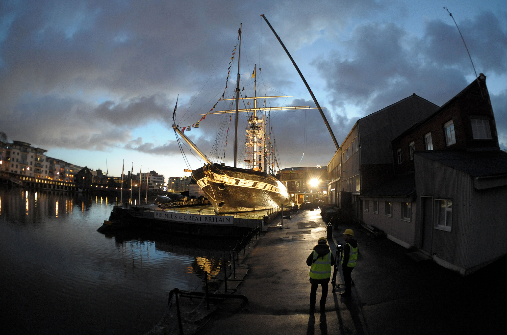 SS Great Britain ...The 25 metre long mainyard is lifted into place on Brunel's SS Great Britain in Bristol as preparations begin for the attraction's Go Aloft that will allow the public to climb the rigging and out onto the mainyardl. PRESS ASSOCIATION Photo. Picture date: Friday December 20, 2013. Visitors will be able to step into the shoes of a Victorian sailor and be able to scale the rigging for a unique view of Bristol. See PA story SEA Brunel. Photo credit should read: Tim Ireland/PA Wire