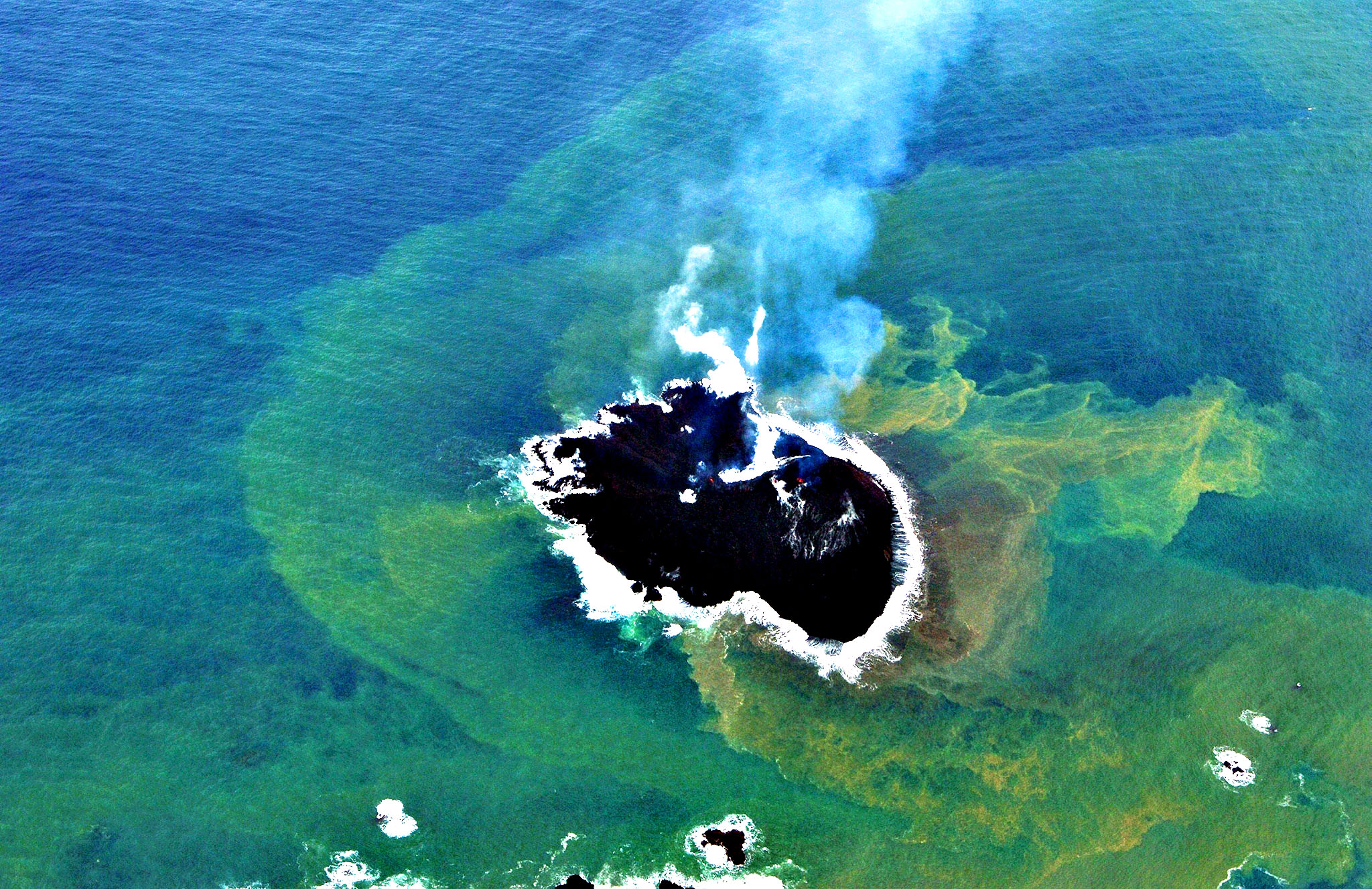 A newly created small islet near Nishinoshima island of the Ogasawara island chain, 1,000 kilometres south of Tokyo.  A new island created by a volcanic eruption off Japan's coast is here to stay -- for now at least, scientists said on December 10, adding the new landmass could withstand erosion for several years.