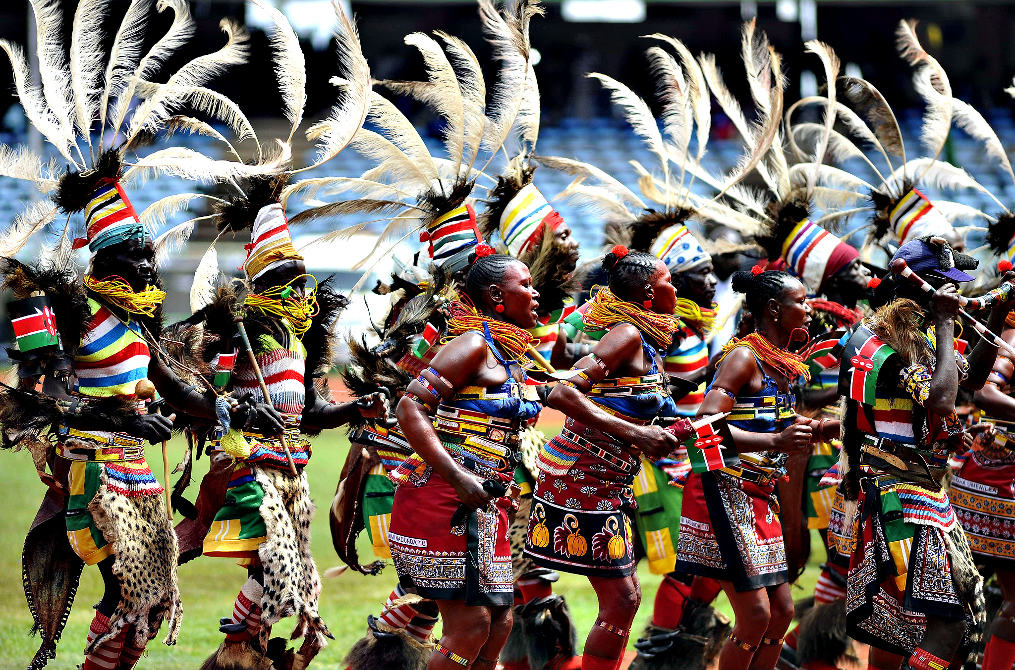 Traditional dancers perform at the Kasarani stadium in Nairobi on December 12, 2013 during celebrations marking half a century of independence from Britain. Kenyans marked 50 years of independence, celebrating progress of the regional economic powerhouse but also struggling to shake off a legacy of corruption, inequality and ethnic violence.