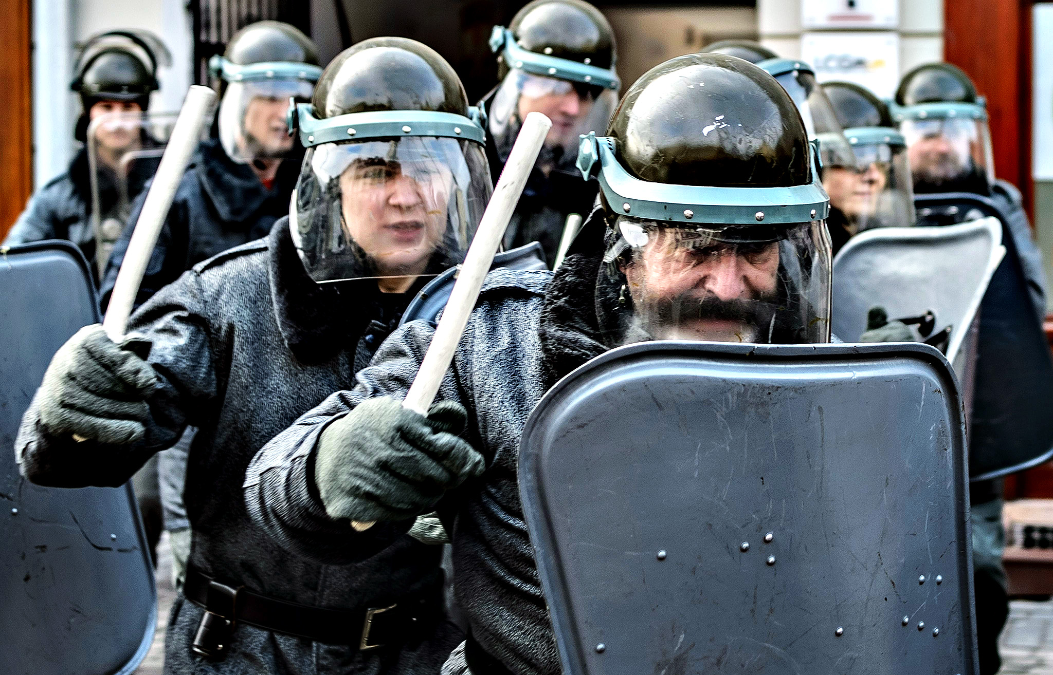 Units of ZOMO (Motorized Reserves of the Citizens' Militia) perform during reenacted street riots - a reconstruction of historical events of 13 December 1981, in Lublin, Poland. Martial law in Poland was declared by former general Wojciech Jaruzelski on 13 December 1981 aiming to block reforms urged by the 'Solidarity' movement.