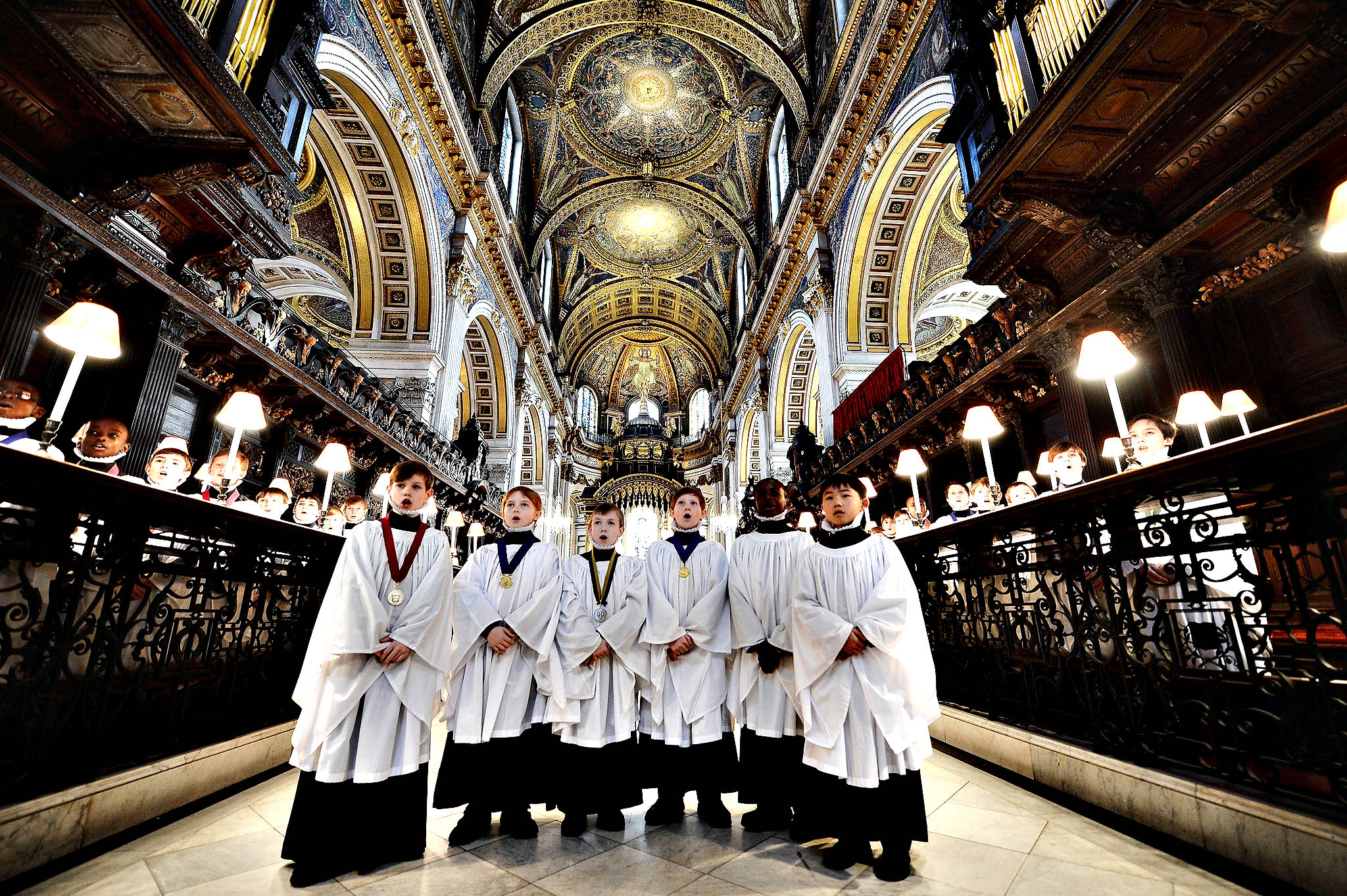 The Choristers rehearse for Advent services and concerts at St Paul's Cathedral on December 9, 2013 in London, England.  Each year nearly two million people visit St Paul's Cathedral for services and concerts in the run up to Christmas.
