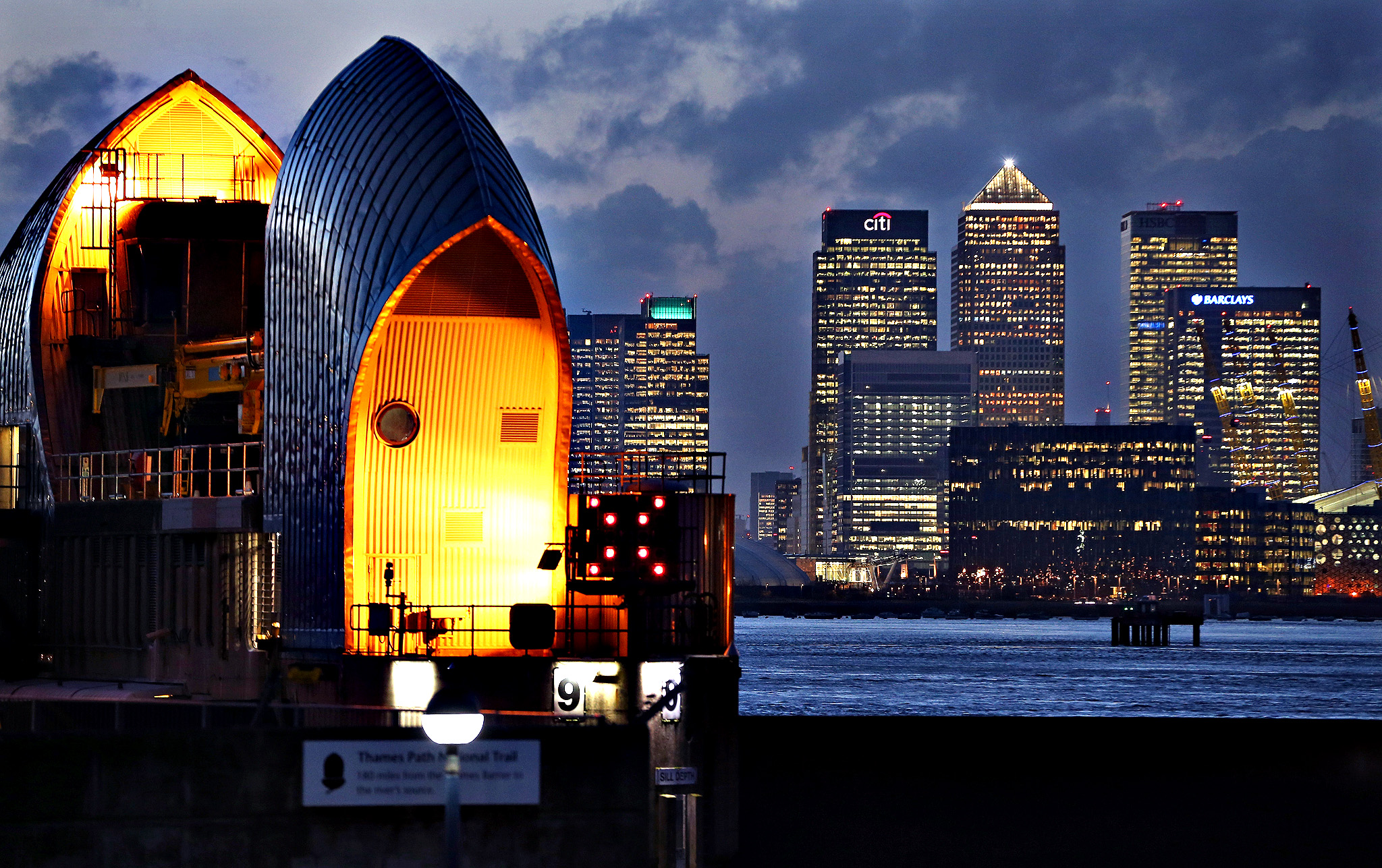 A general view of the Thames Barrier on January 7, 2014 in London, United Kingdom. After a period of recent storms and heavy rain, forecasters are warning that there is still more bad weather to come over the next few days.