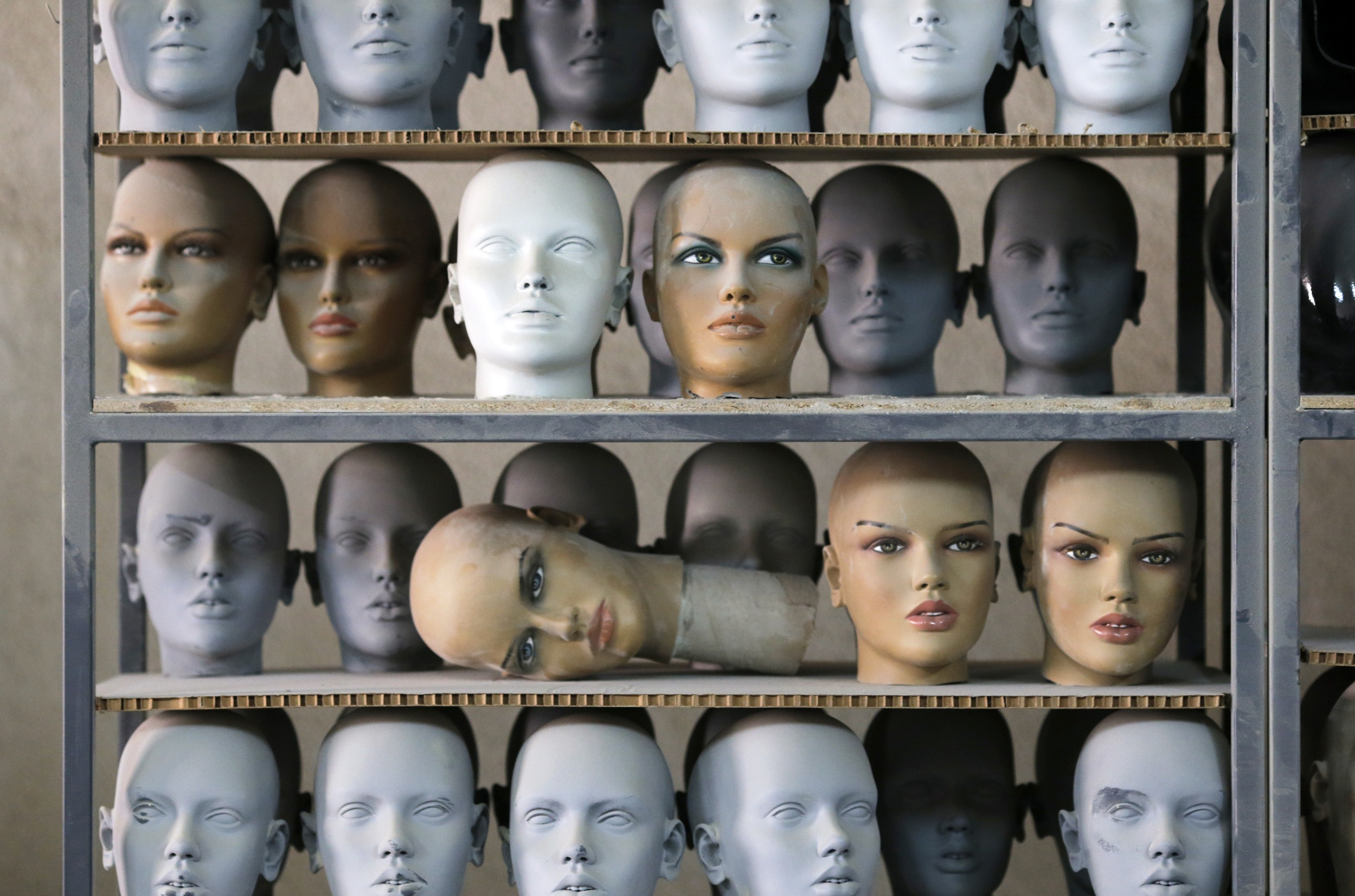 Mannequin parts are seen at a factory of Koray Vitrin Mankenleri in Ankara
