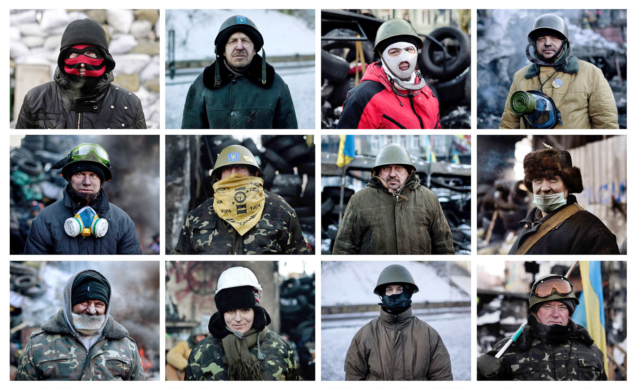 A combination of 16 photos shows portrai...A combination of 16 photos shows portraits of anti-government protesters standing at a road block in Kiev on January 31, 2014. President Viktor Yanukovych on January 30 accused the opposition of inflaming tensions in Ukraine's crisis but also admitted for the first time that the authorities had made mistakes. The opposition has refused to end street protests despite the passing of the amnesty for protesters arrested in the two-month crisis. AFP PHOTO / ARIS MESSINIS / ANGELOS TZORTZINISARIS MESSINIS,ANGELOS TZORTZINIS/AFP/Getty Images