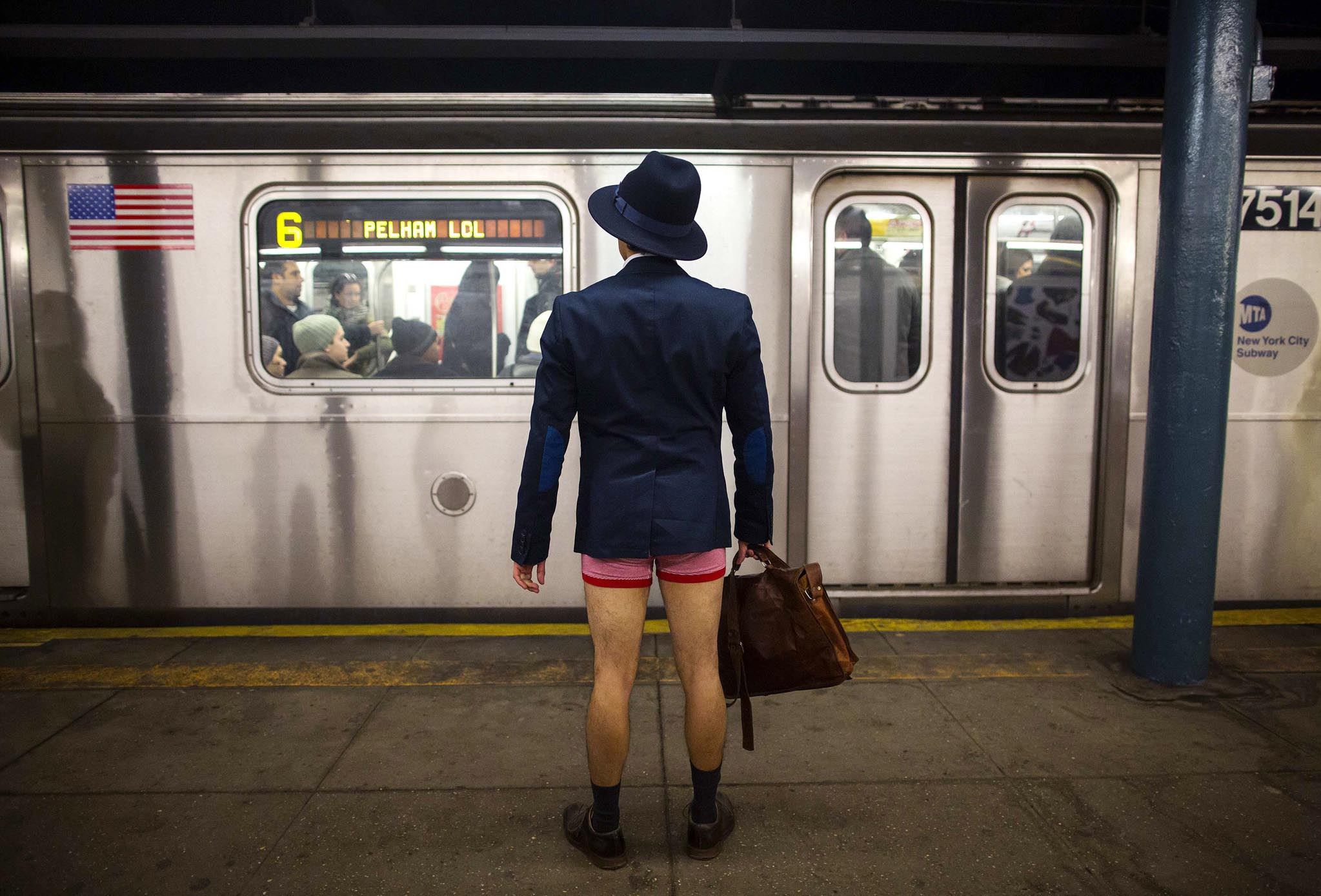A man takes part in the annual No Pants Subway Ride in New York