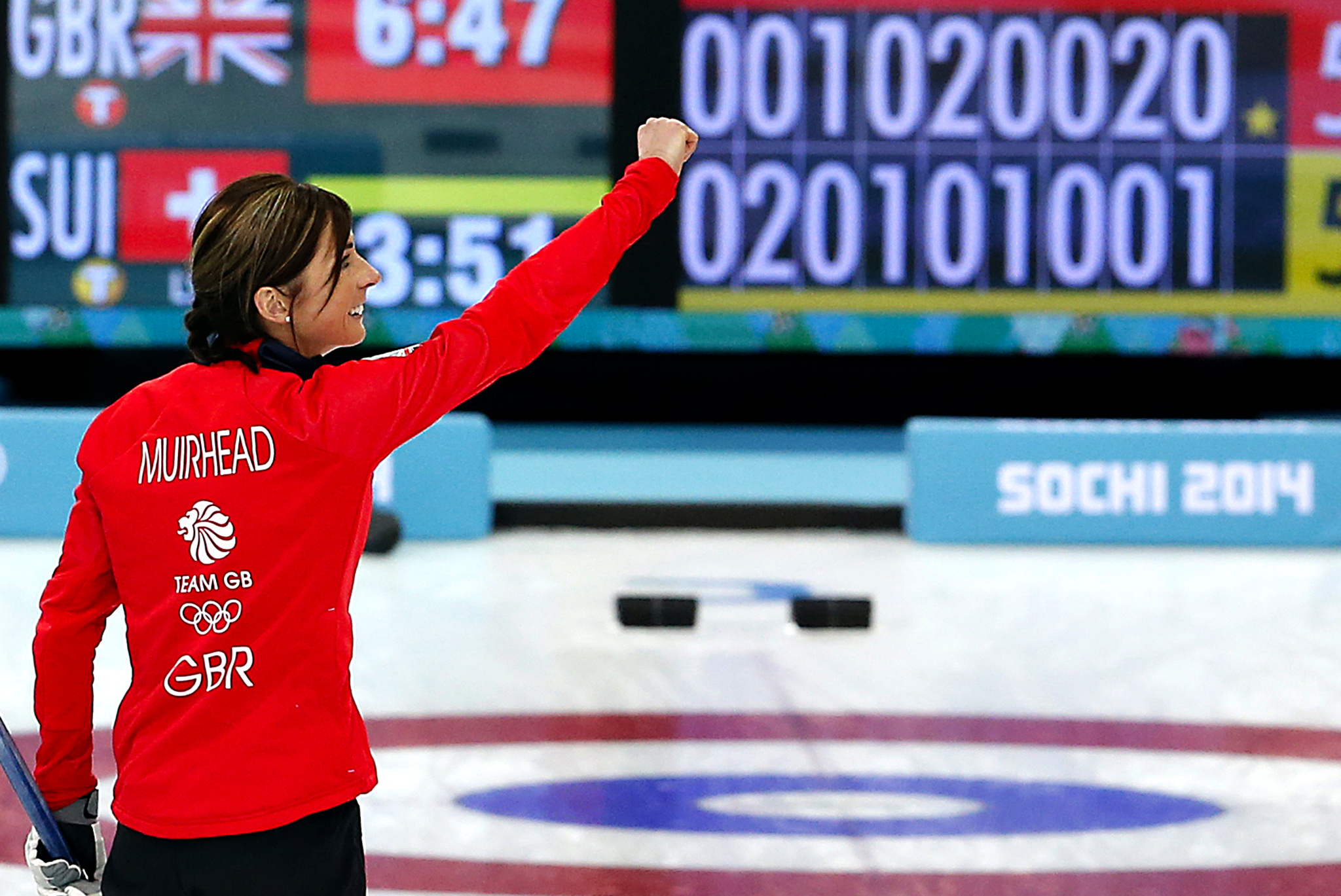 Eve Muirhead, Claire Hamilton, Anna Sloan, Vicki Adams...Britain's skip Eve Muirhead celebrates after beating Switzerland in the women's curling bronze medal game at the 2014 Winter Olympics