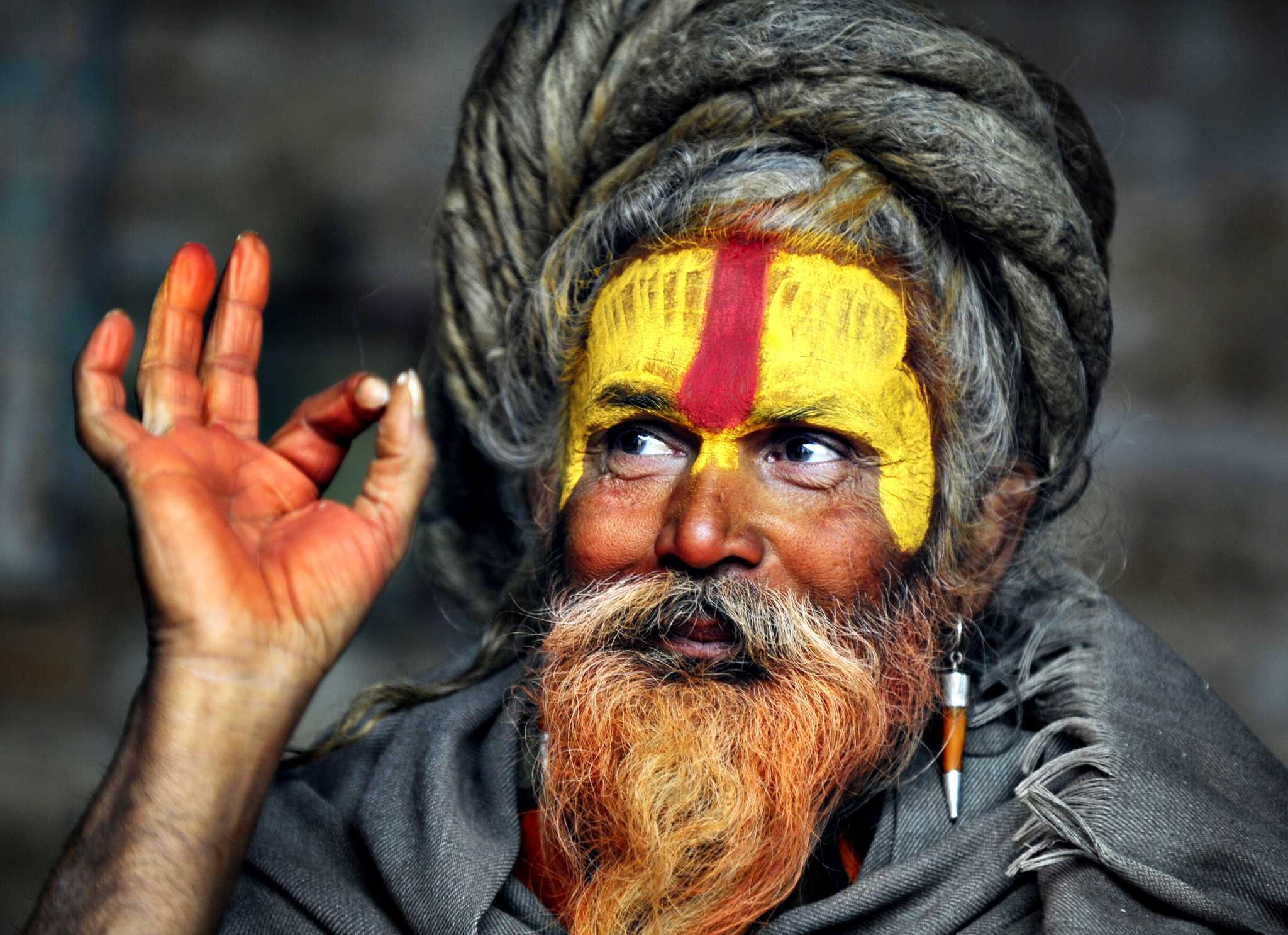 A Hindu Sadhu (holy man) poses for a photograph during the Maha Shivaratri festival at the Pashupatinath temple in Kathmandu on February 27, 2014. Hindus mark the Maha Shivratri festival by offering special prayers and fasting. Hundreds of sadhus have arrived in Pashupatinath to take part in the Maha Shivaratri festival. AFP PHOTO/Prakash MATHEMAPRAKASH MATHEMA/AFP/Getty Images