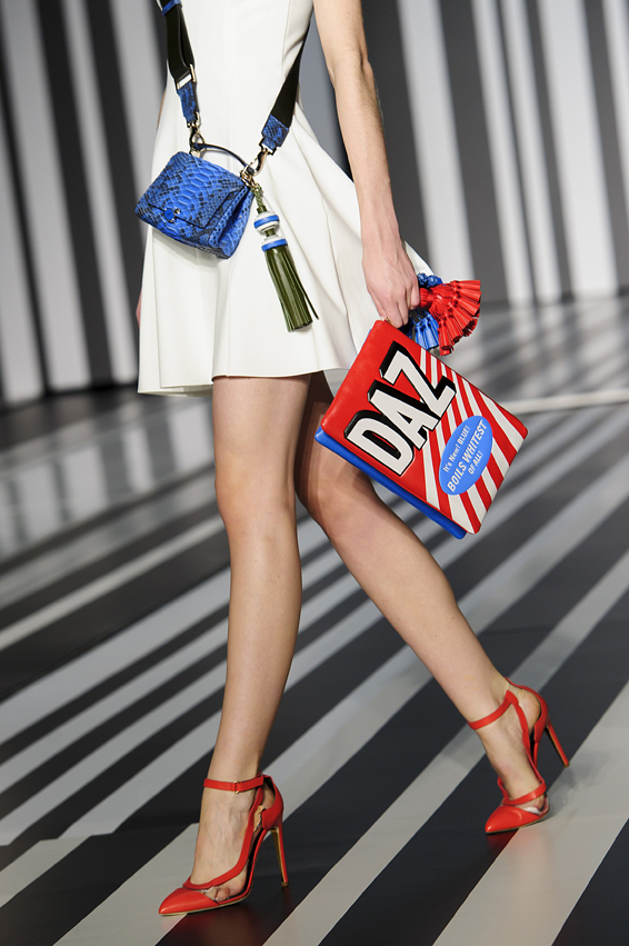 A model wears an accessory created by Anya Hindmarch during London Fashion Week Autumn/Winter 2014, in central London in central London, Tuesday, Feb. 18, 2014.