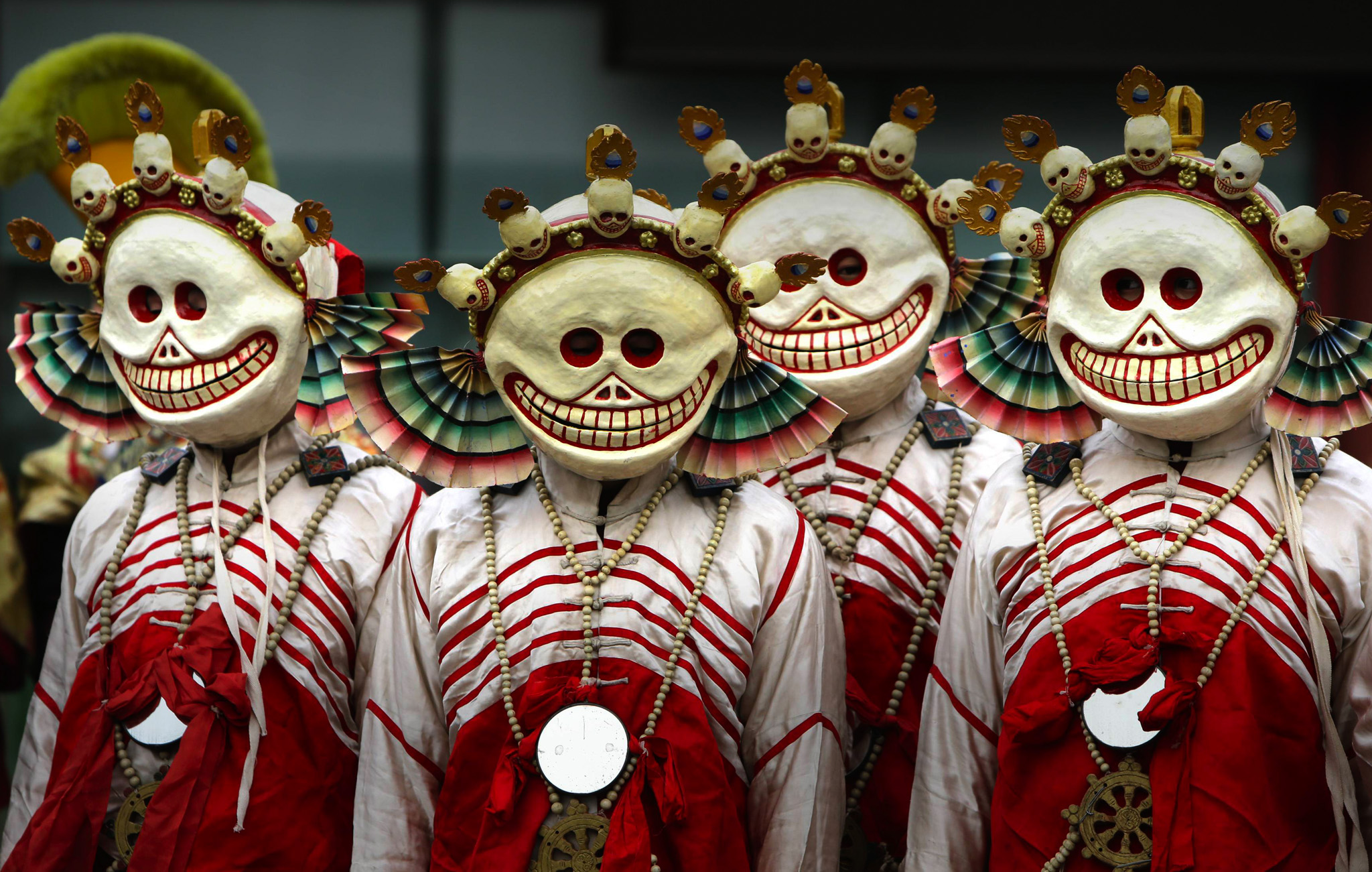 "Monks dressed as Tibetan Buddhist characters attend a religious ceremony, known as ""Da Gui"" or beating ghost, to celebrate the upcoming Tibetan New Year which starts on March 1 at Yonghegong Lama Temple. The ceremony is held annually at the end of the first lunar month with mask dancing to expel ghosts."