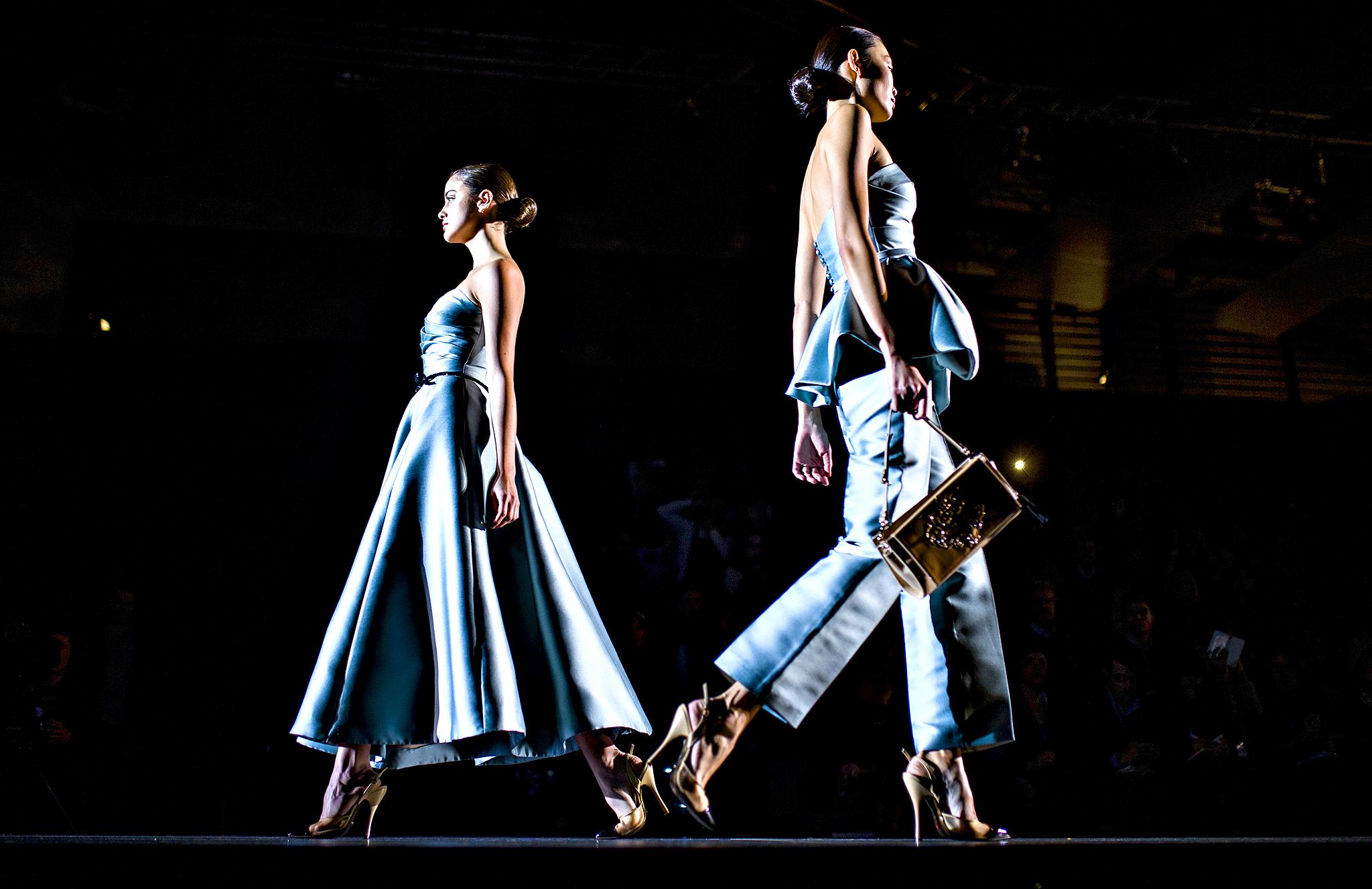 Models display Autumn/Winter designs by Hannibal Laguna during Madrid's Fashion Week, in Madrid, Spain, Monday, Feb. 17, 2014.