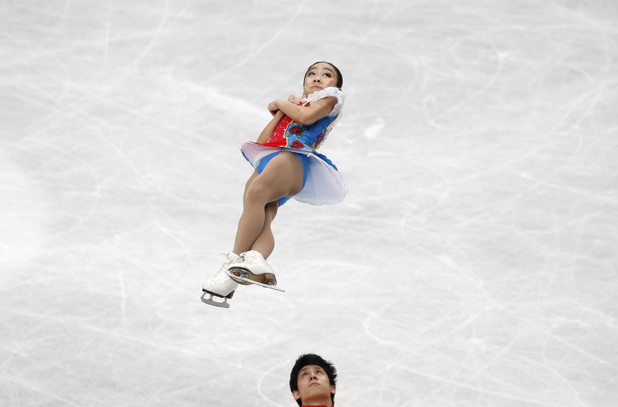 China's Sui Wenjing and Han Cong compete during the pairs free skating program at the ISU World Figure Skating Championships in Saitama