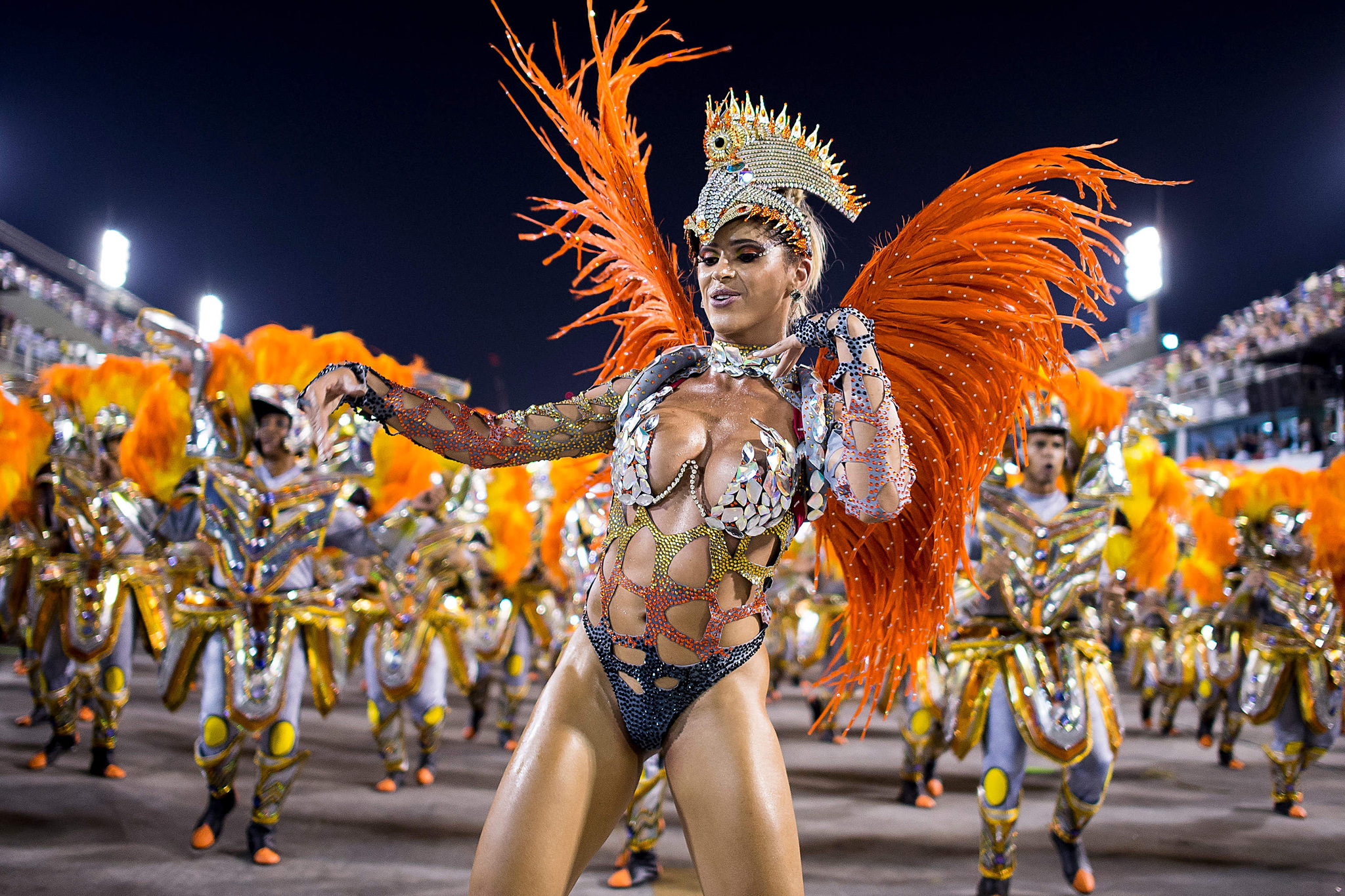 "Rio Carnival 2014 - Day 2...RIO DE JANEIRO, BRAZIL - MARCH 03: Members of Unidos da Tijuca Samba School during their parade at 2014 Brazilian Carnival at Sapucai Sambadrome on March 03, 2014 in Rio de Janeiro, Brazil. Rio's two nights of Carnival parades began on March 2 in a burst of fireworks and to the cheers of thousands of tourists and locals who have previously enjoyed street celebrations (known as ""blocos de rua"") all around the city. (Photo by Buda Mendes/Getty Images)"