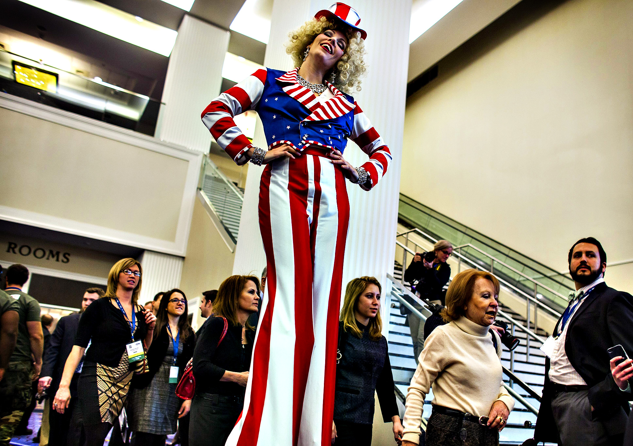 A performer greets arrivals to the 41st Annual Conservative Political Action Conference (CPAC) at the Gaylord National Resort & Convention Center in National Harbor, Maryland, USA, 06 March 2014.