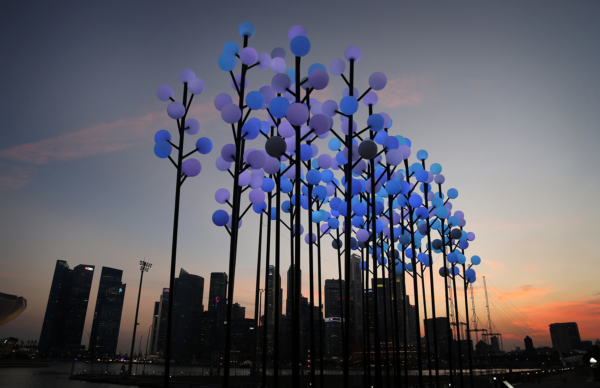 "A light installation titled ""Digital Wattle"" which is an adaptation from Australia's floral emblem is illuminated with Singapore's financial skyline silhouetted in the background, Thursday, March 6, 2014, in Singapore. ""Digital Wattle"" is a device exploring the interplay between individual ethnic groups co-existing in one city. When the flowers sway gently in the wind, they will slowly change from pure white to different colours to represent the new mix of cultures residing in the city. The iLight Marina Bay exhibition features innovative and environmentally sustainable light art installations from around the world, displayed along the Singapore river."