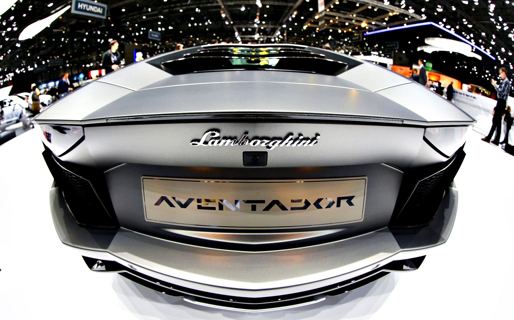The rear of Lamborghini Aventador is pictured during the media day ahead of the 84th Geneva Motor Show at the Palexpo Arena in Geneva March 5, 2014. The Geneva Motor Show will run from March 6 to 16.