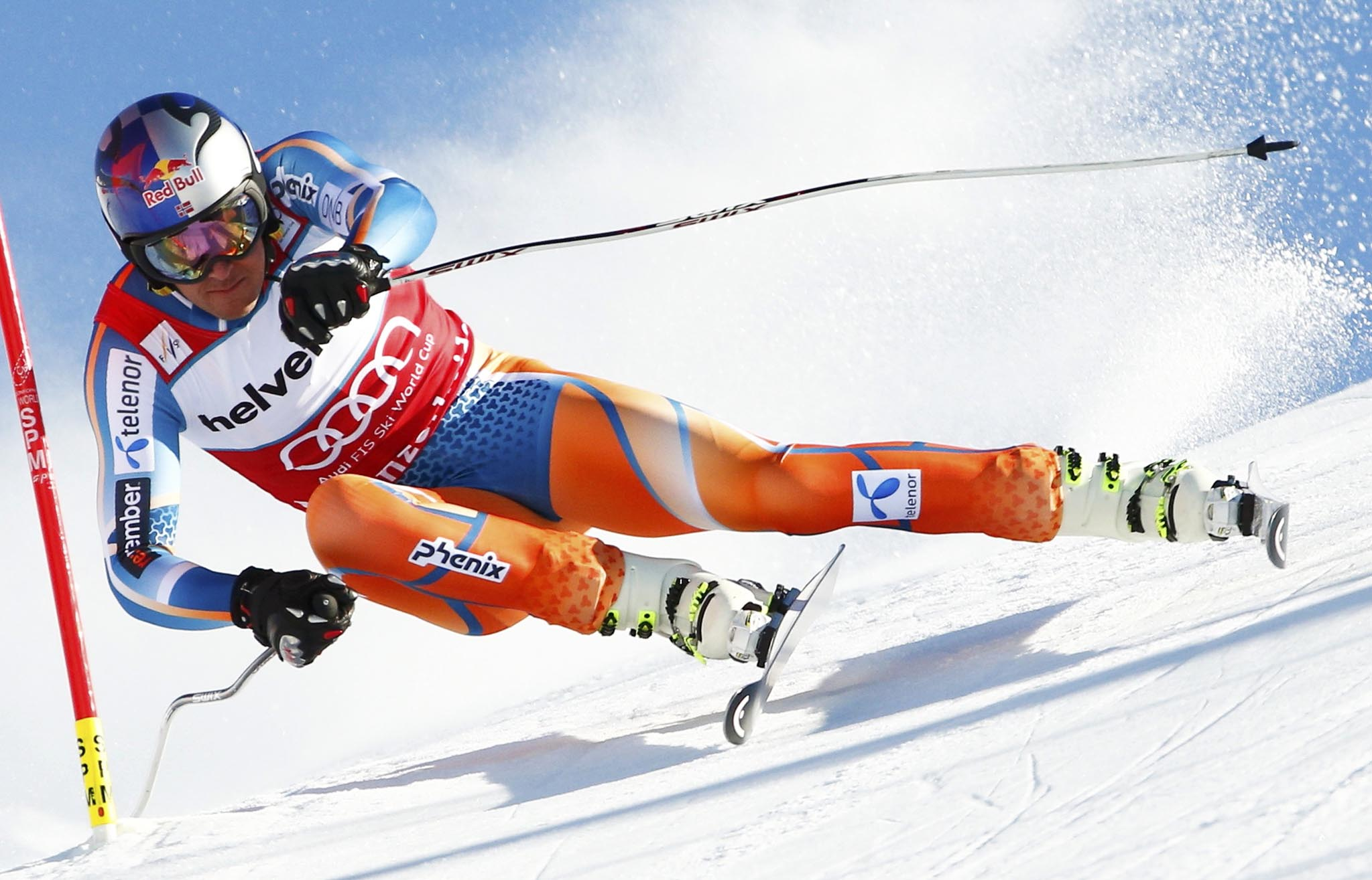 Svindal of Norway skis during the men's downhill event during the FIS Alpine Skiing World Cup finals in the Swiss ski resort of Lenzerheide