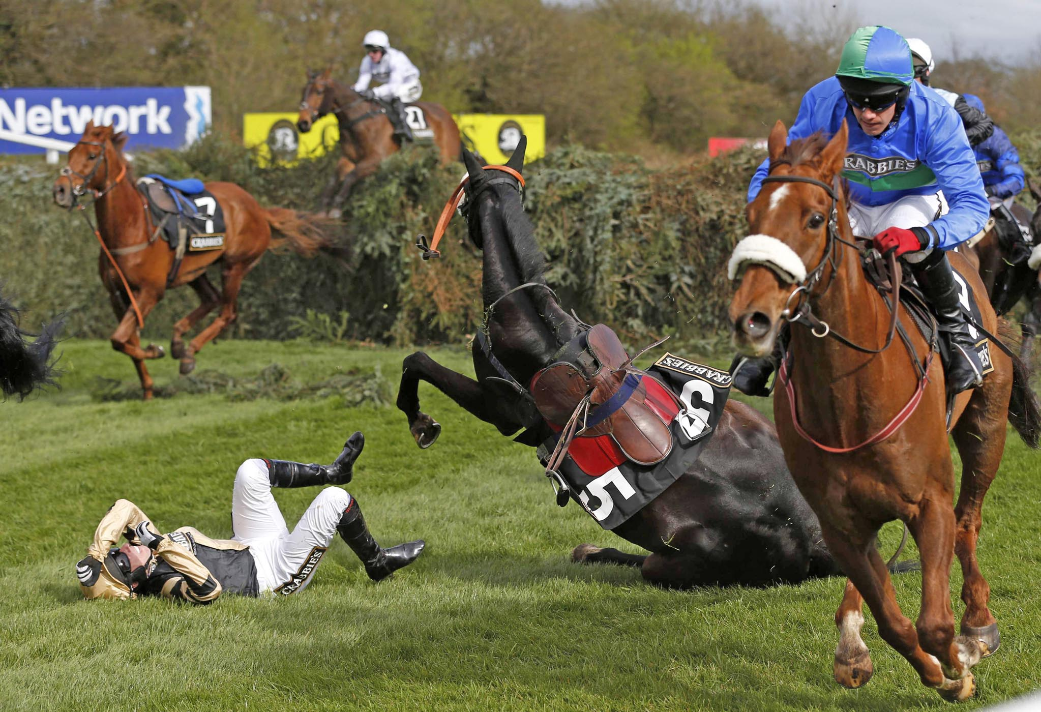 Fago, ridden by Barry Fehilly, falls at the open ditch on the way to winning the 'Supporting The Everton In The Community Steeple Chase' during the Grand National horse racing meeting at Aintree, northern England