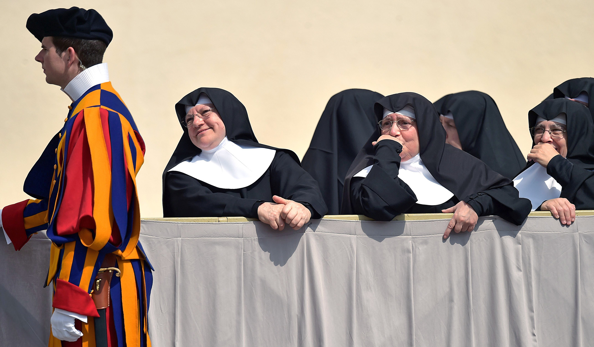 Nuns stand at St. Peter's square at the ...Nuns stand at St. Peter's square at the Vatican at the end of the Pope's weekly general audience on April 2, 2014.     AFP PHOTO / GABRIEL BOUYSGABRIEL BOUYS/AFP/Getty Images