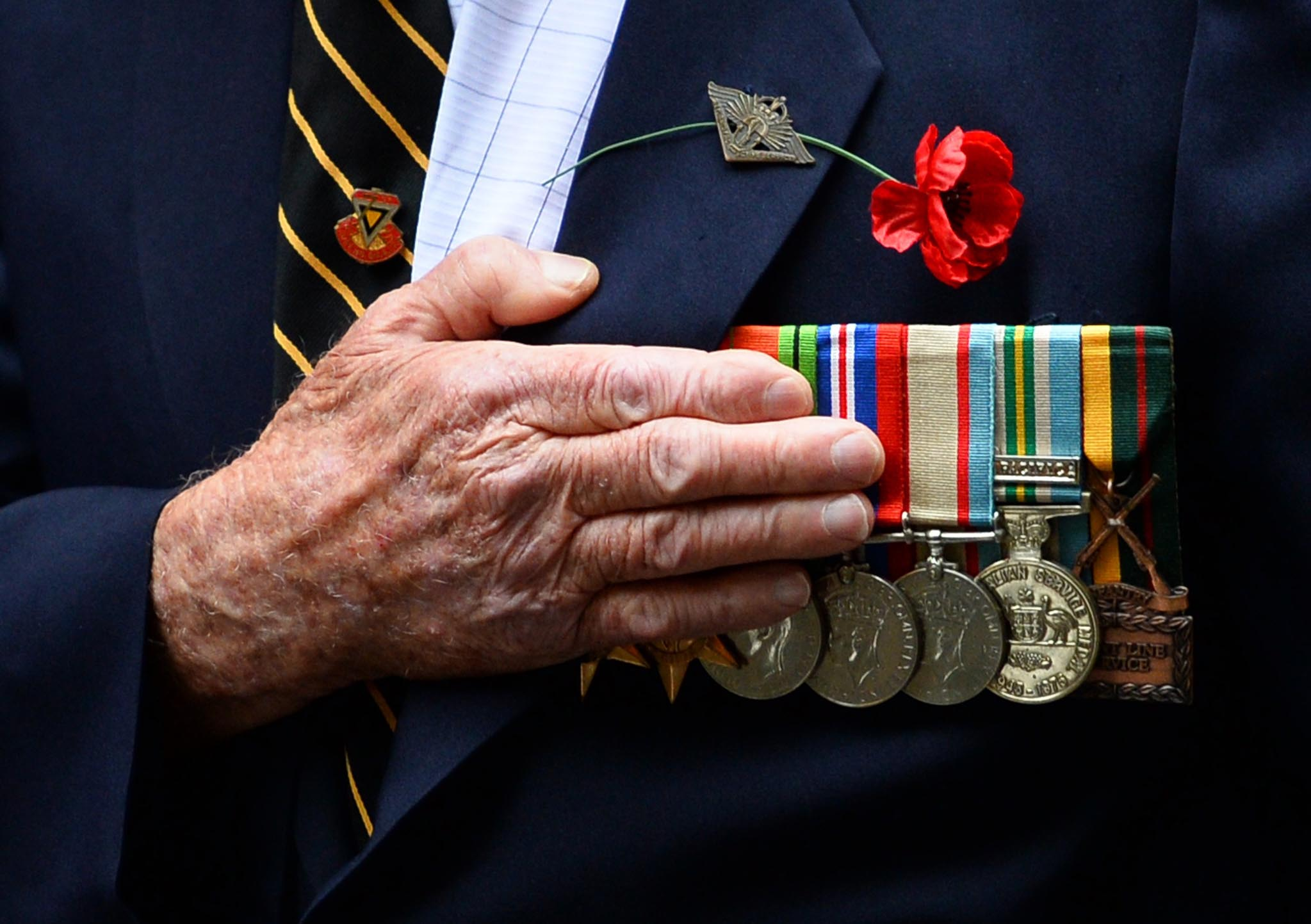 An Australian war veteran takes part in the annual ANZAC Day Parade