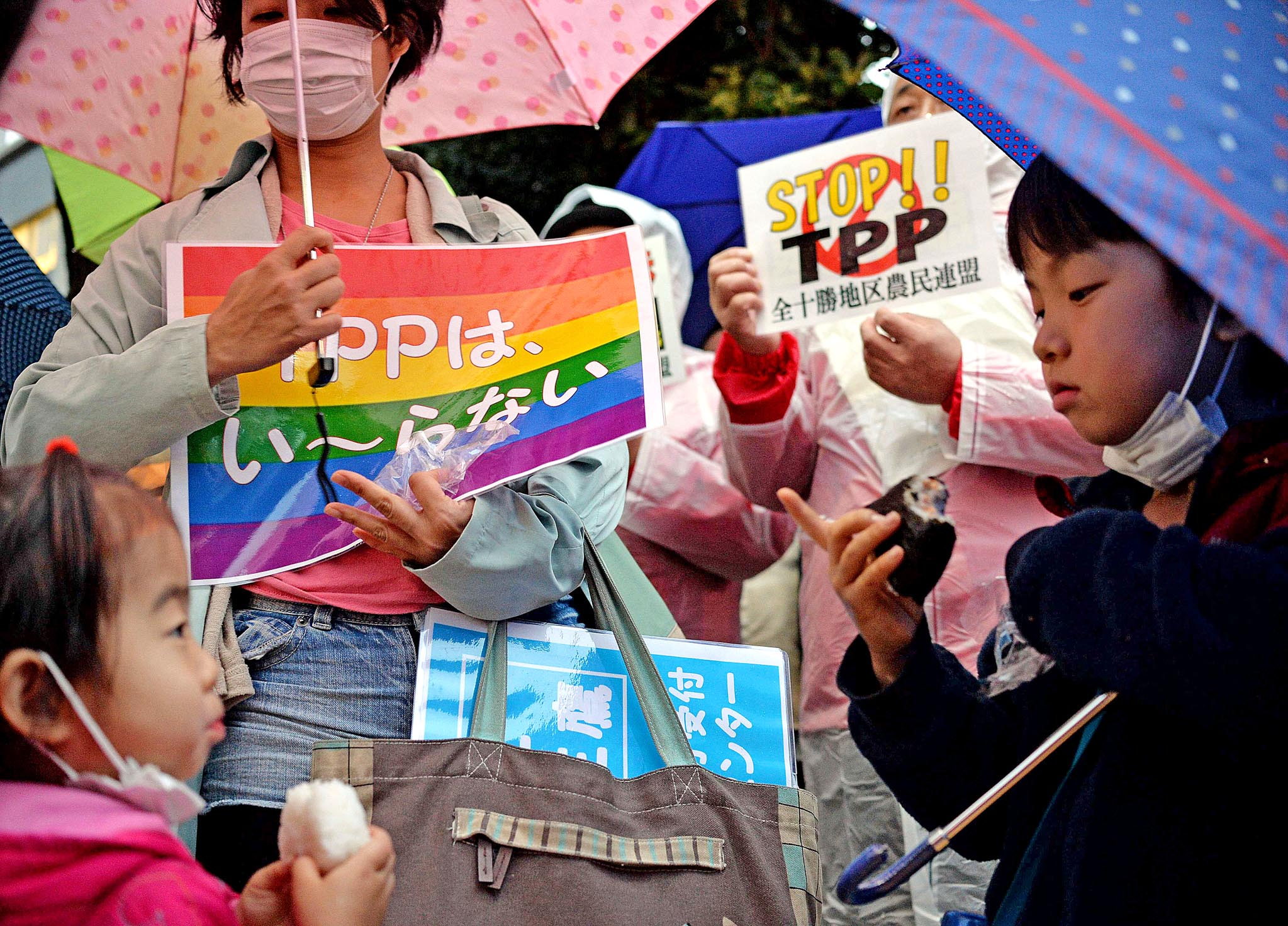 Japanese farmers and their supporters hold placards of against the Trans Pacific Partnership (TPP)