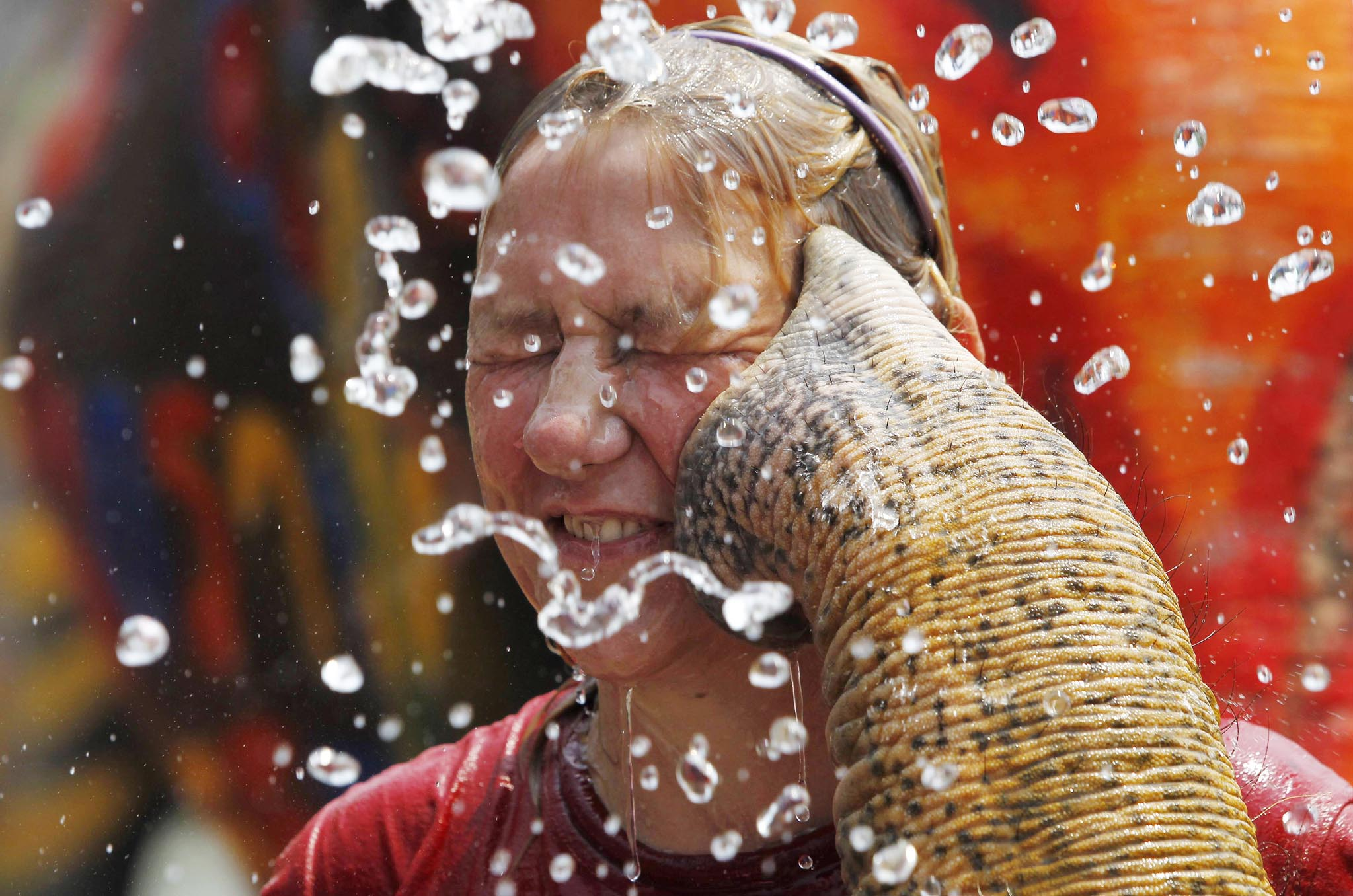 A tourist reacts as an elephant sprays her with water in celebration of the Songkran water festival in Thailand's Ayutthaya province