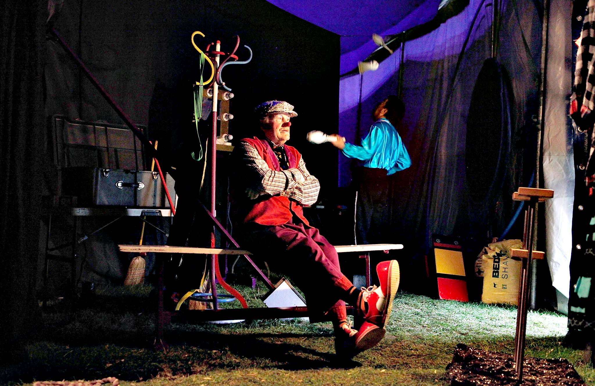 Charlie the Clown played by 75 year old Karl Brenner, currently the oldest working professional clown in the world, waits backstage in Huntingdon, England. Mr Fips Wonder Circus is a small, family run circus, who during their latest season will travel up the east of England until their season draws to a close in November. They are a company of around 20 performers, all family and friends from the circus community and their youngest member is 12 years old and their oldest is 75 years old. The troupe formed three years ago when Jan Erik Brenner and his wife Carolyn decided that they wanted to return the circus to the intimacy and magic of their childhood memories, and now play to audiences of between 100 and 500 adults and children.