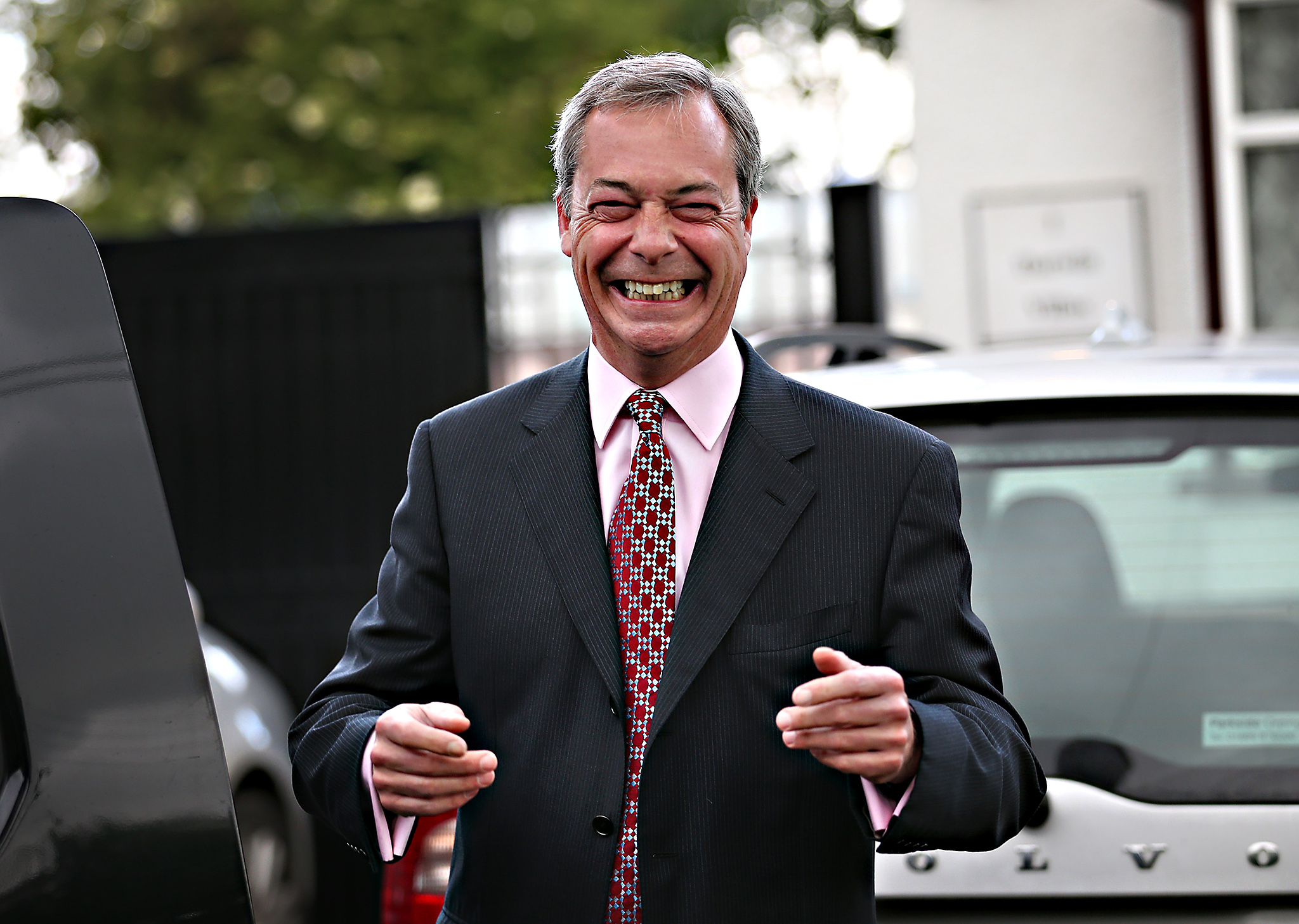 United Kingdom Independence Party (UKIP) leader Nigel Farage smiles as he talks to reporters. Early local election results announced overnight show substantial gains for UKIP.