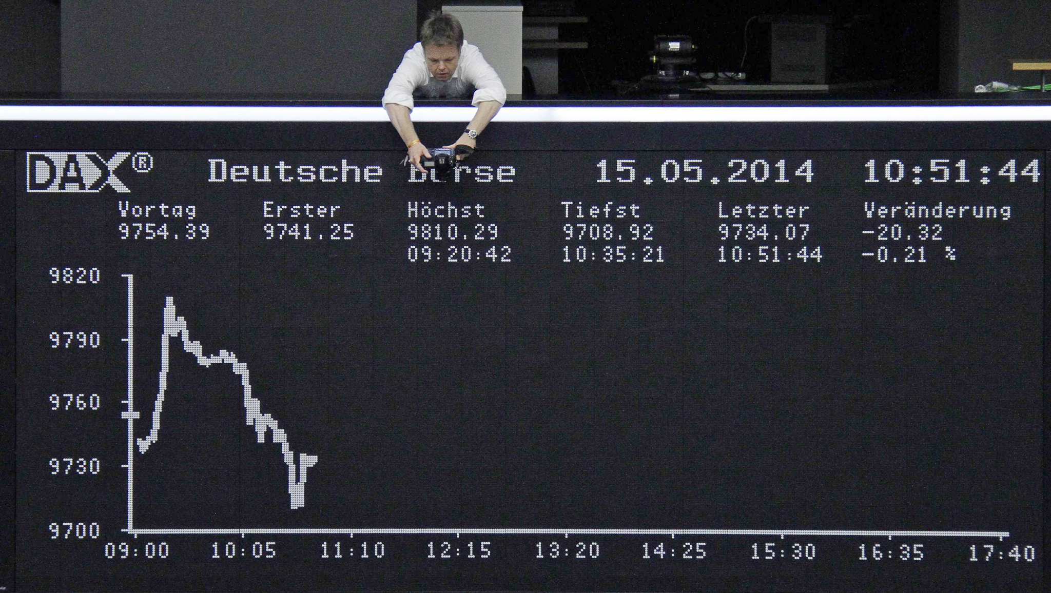 A photographer photographs the curve of the German share price index DAX board at the Frankfurt stock exchange...A photographer photographs the curve of the German share price index DAX board at the Frankfurt stock exchange May 15, 2014.     REUTERS/Remote/Fabrizio Bensch     (GERMANY - Tags: BUSINESS)