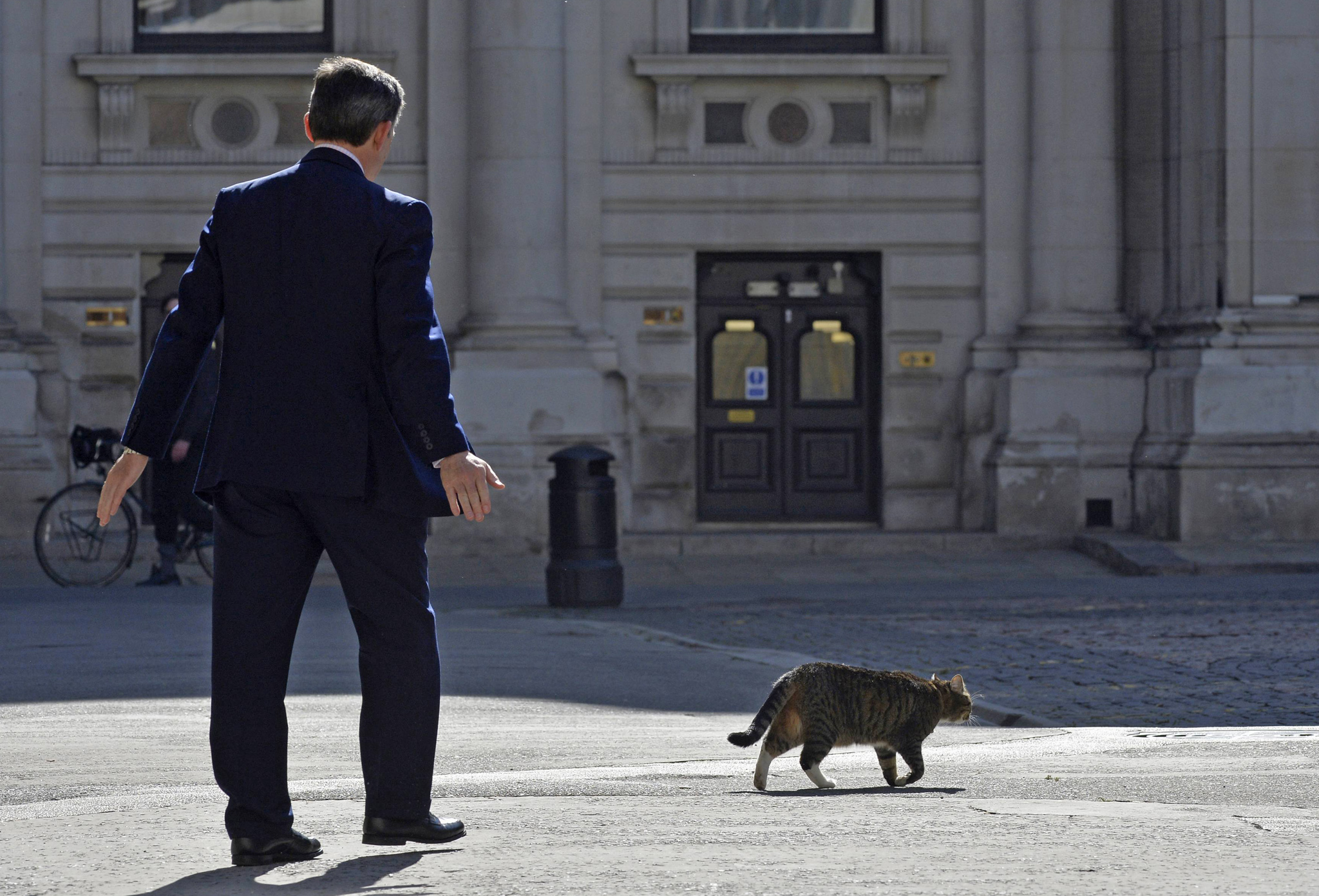 "Britain's Minister of State for Foreign and Commonwealth Affairs Hugh Robertson ushers away ""Freya"" the cat of Britain's Chancellor George Osborne at The Foreign Office in London...Britain's Minister of State for Foreign and Commonwealth Affairs Hugh Robertson ushers away ""Freya"", the cat of Britain's Chancellor George Osborne, as he waits to greet attendees of a Friends of Syria meeting at The Foreign Office in London May 15, 2014. REUTERS/Toby Melville (BRITAIN - Tags: POLITICS CONFLICT ANIMALS)"