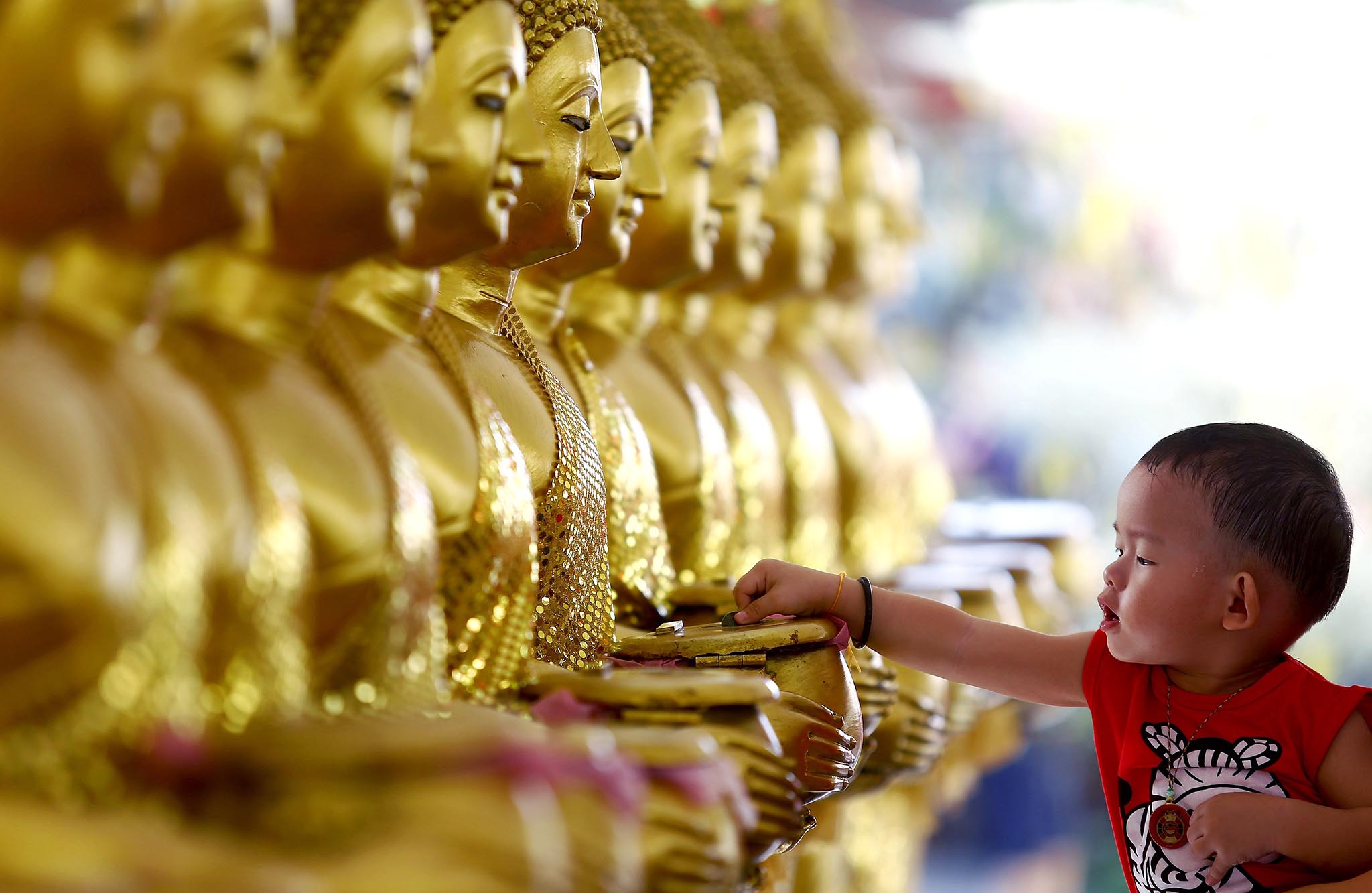 A child drops coins into golden Buddha statues as a symbol of blessings on Vesak Day at the Thai Buddhist Chetawan Temple in Petaling Jaya