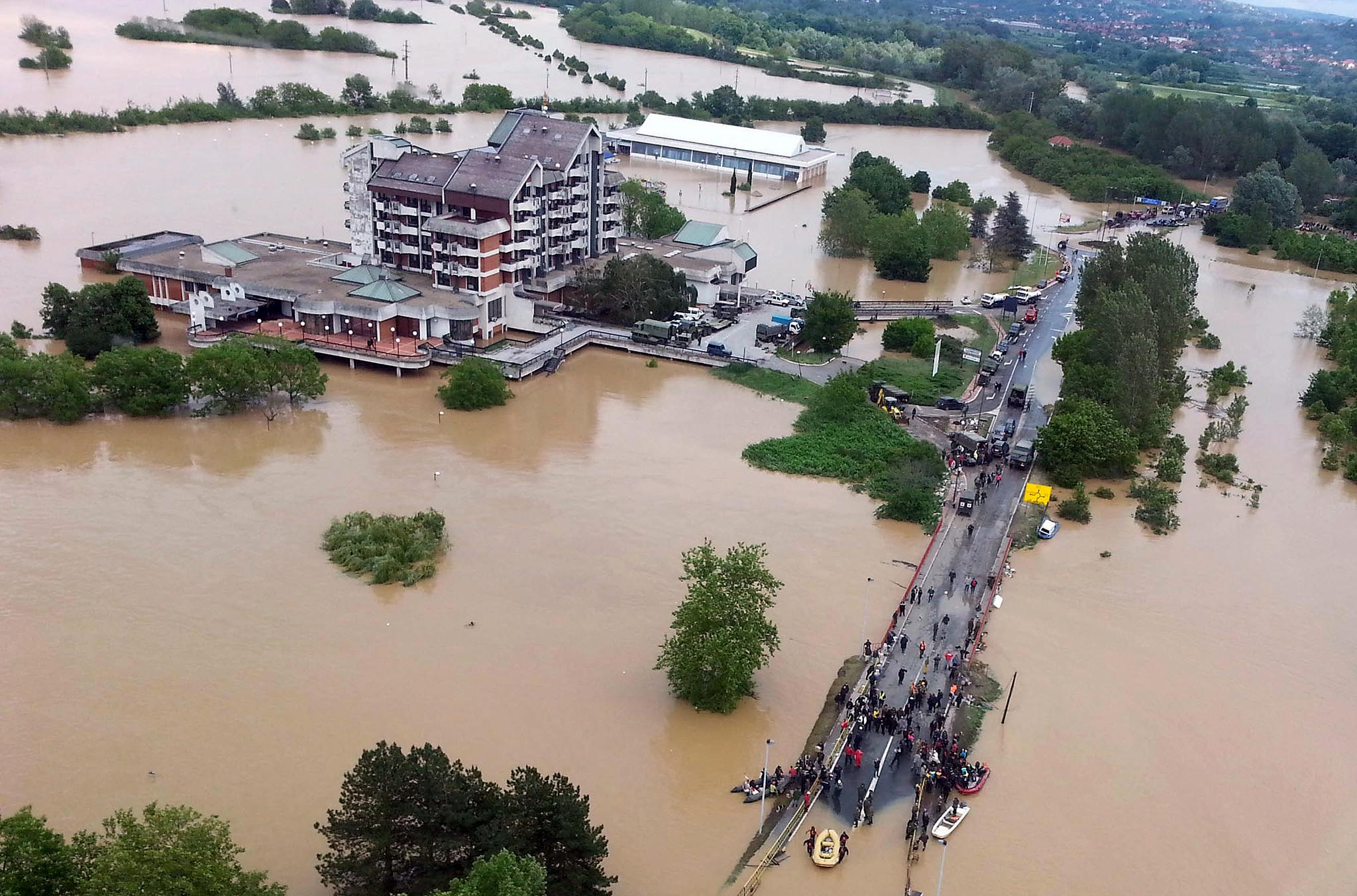 aerial view of the flooded city of Obrenovac,