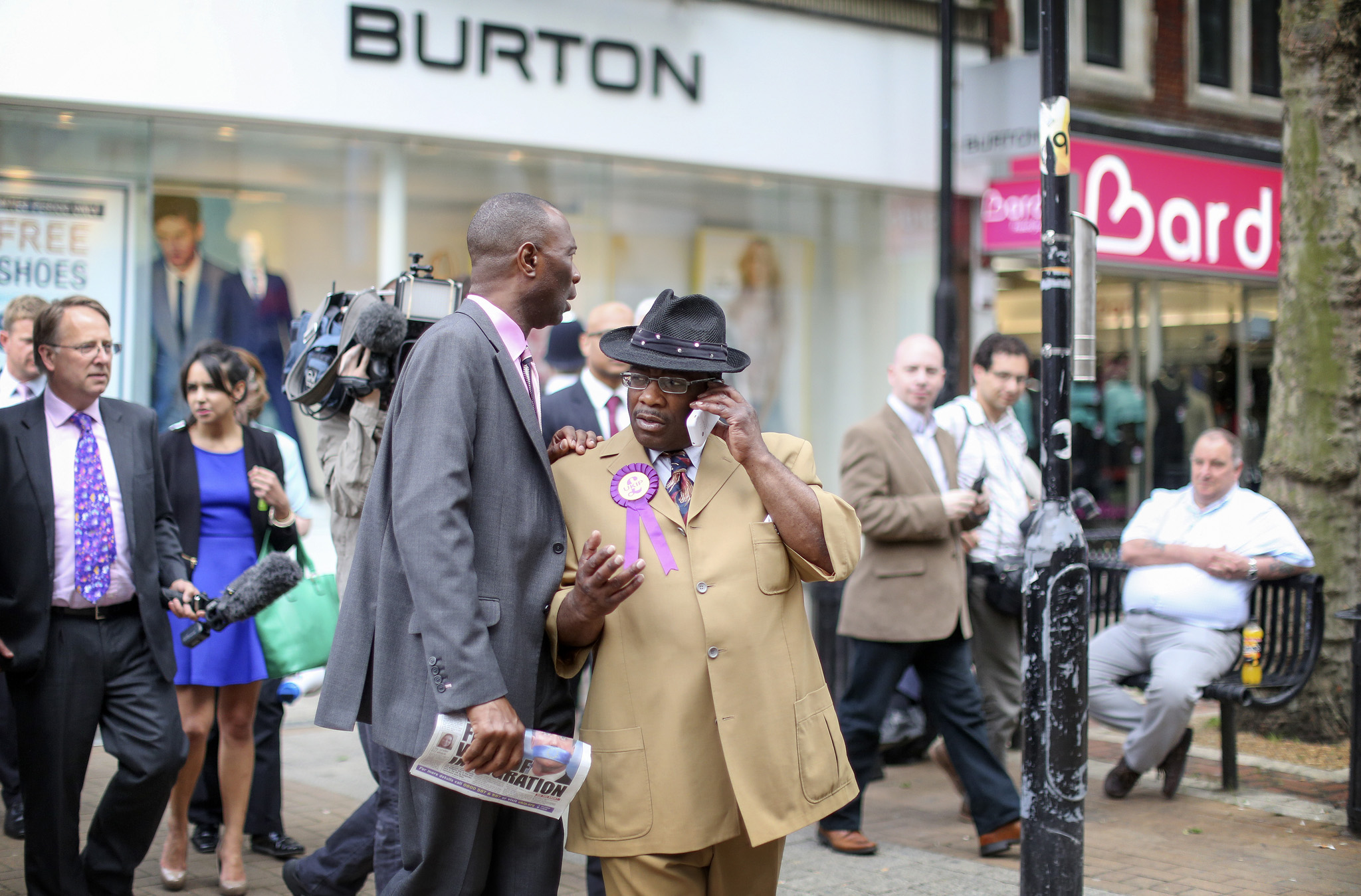 UKIP candidate for Croydon, Winston waits for Nigel Farage, Leader of UKIP outside the Whitgift Centre in Croydon. Mr Farage decide not to attend the event in the end.UKIP candidate, Winston McKenzie, waits for Nigel Farage, Leader of UKIP outside the Whitgift Centre in Croydon. Mr Farage decide not to attend the event in the end.UKIP candidate, Winston McKenzie, waits for Nigel Farage, Leader of UKIP outside the Whitgift Centre in Croydon. Mr Farage decide not to attend the event in the end. Picture shows Mr McKenzie apparently on the phone to Mr Farage.
