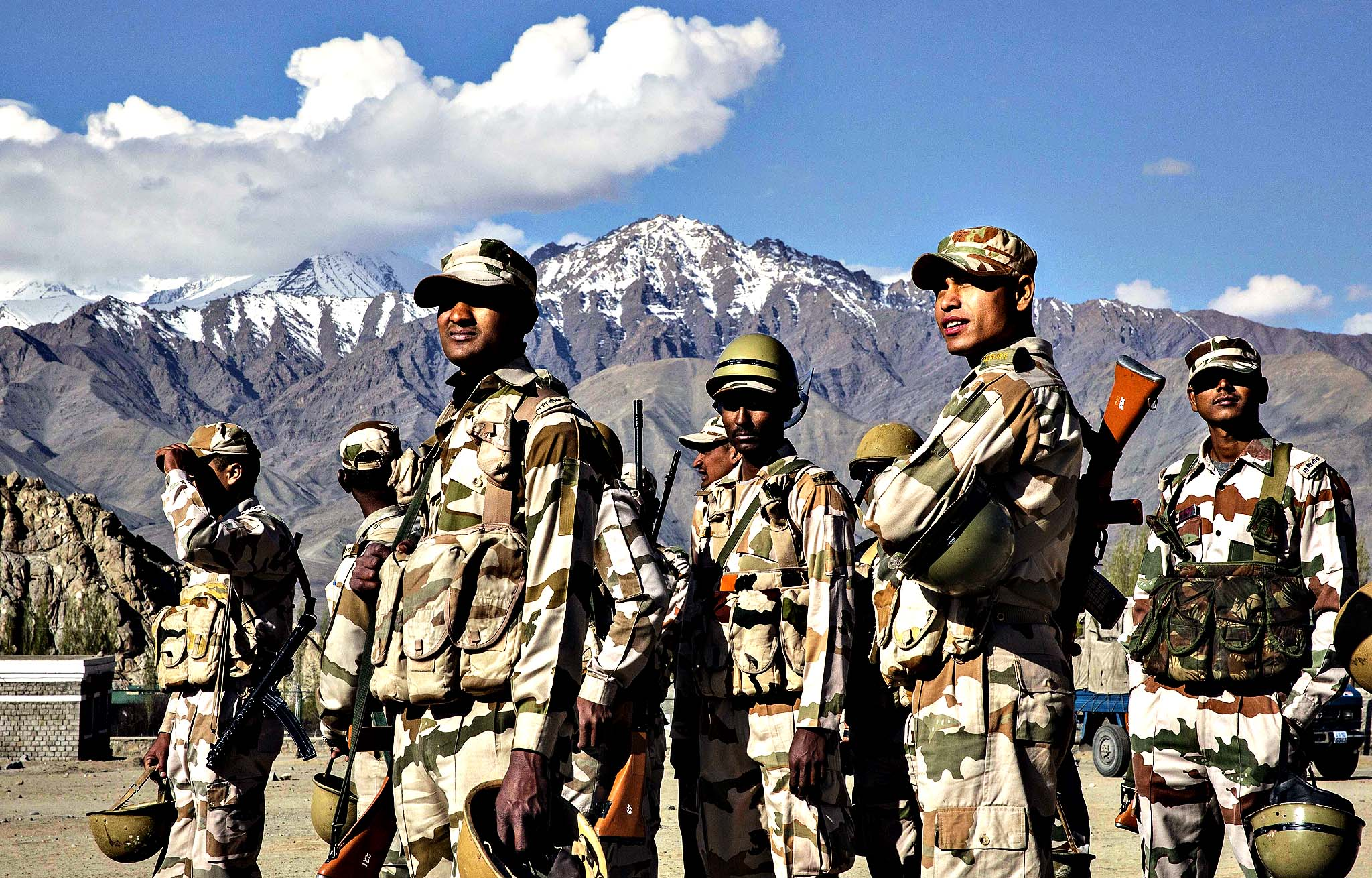 Indian security force soldiers on election duty wait to leave a central collection point to head to secure polling stations, on May 6, 2014 in Leh, Ladakh, India. India is in the midst of a nine phase election that began on April 7th and ends on May 12th. Ladakh voters will vote on May 7th