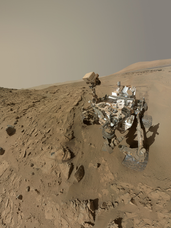 "Mars Rover Curiosity...In this image released on June 23, 2014,  shows NASA's Curiosity Mars rover self-portrait. NASA's Curiosity Mars used the camera at the end of its arm in April and May 2014 to take dozens of component images combined into this self-portrait where the rover drilled into a sandstone target called ""Windjana."" NASAís Mars Curiosity rover will complete a Martian year, 687 Earth days, on June 24. (AP Photo/NASA/JPL-Caltech/MSSS)"