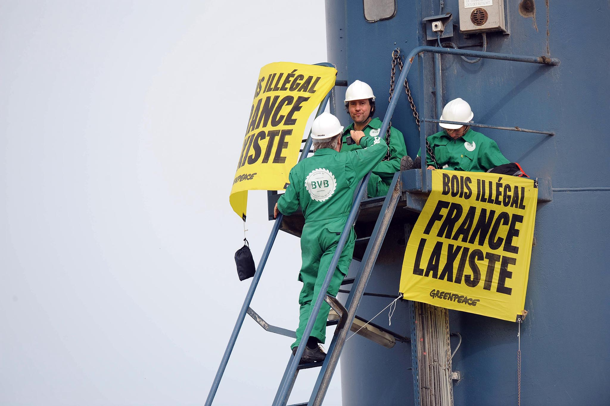 Greenpeace activists climb on cranes