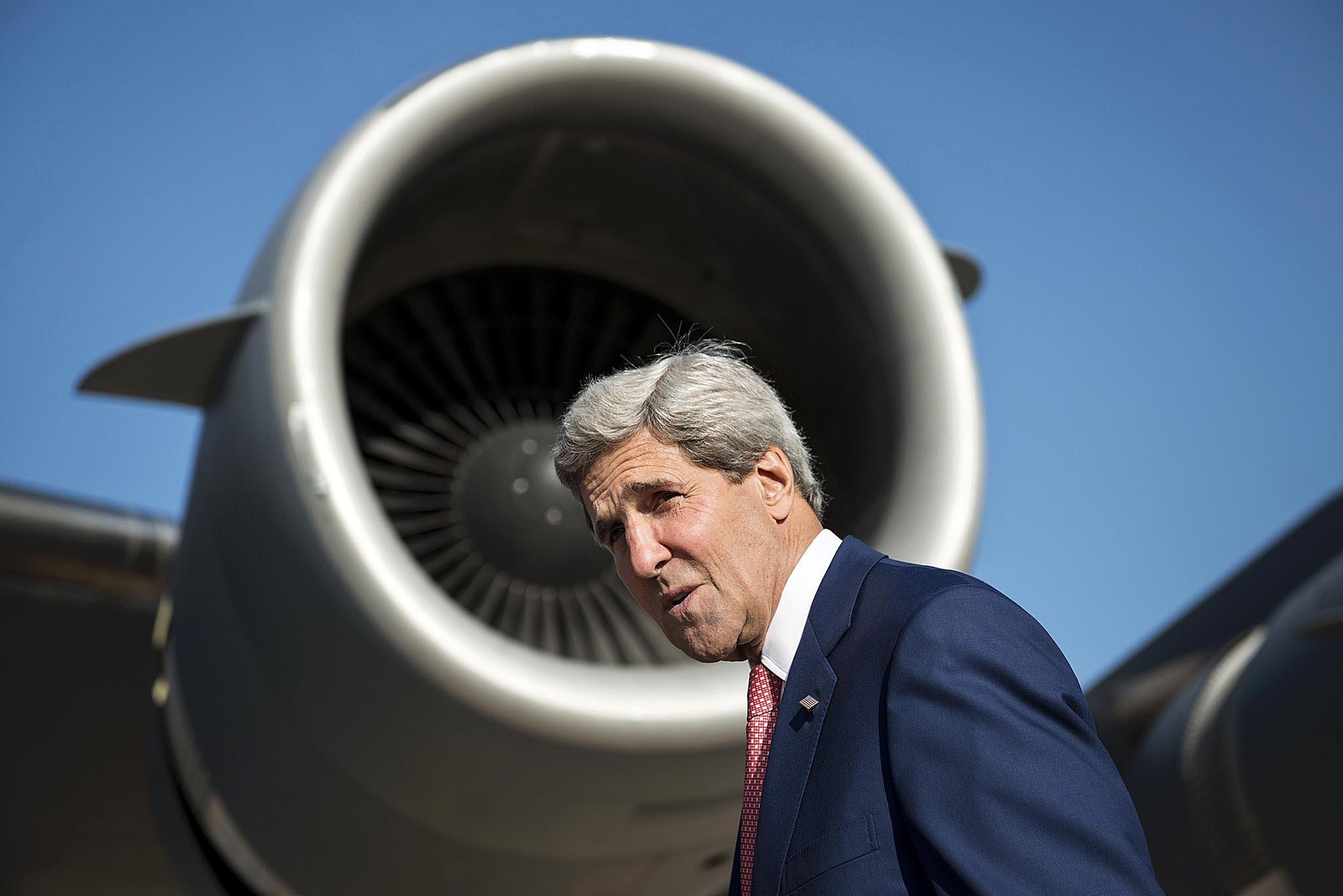 US Secretary of State John Kerry boards