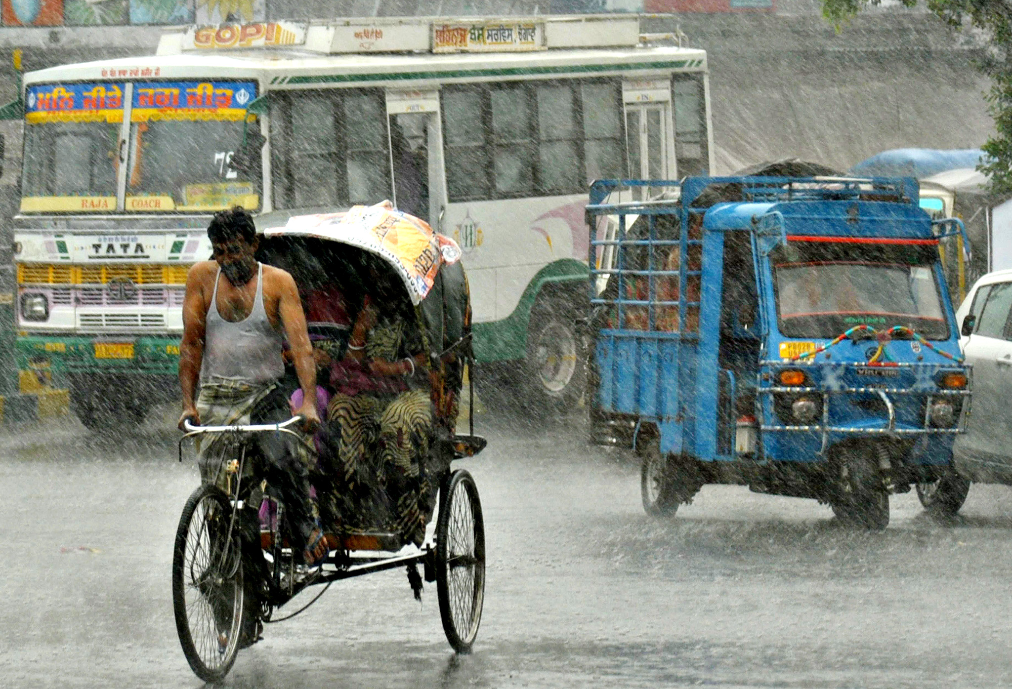 Indian commuters make their way through  a heavy downpour in Amritsar on June 25, 2014. Rain fell in several areas of northern India, bringing down temperatures in the region as the monsoon season approaches.