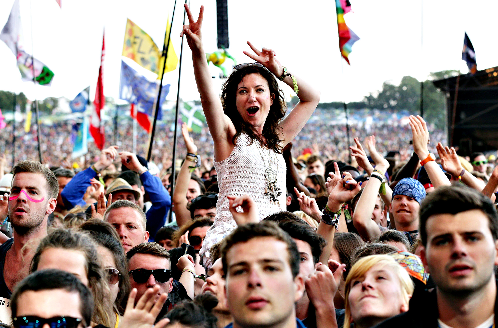 The crowd watching Rudimental on the Pyramid Stage, at the Glastonbury Festival, at Worthy Farm in Somerset. PRESS ASSOCIATION Photo. Picture date: Friday June 27, 2014.