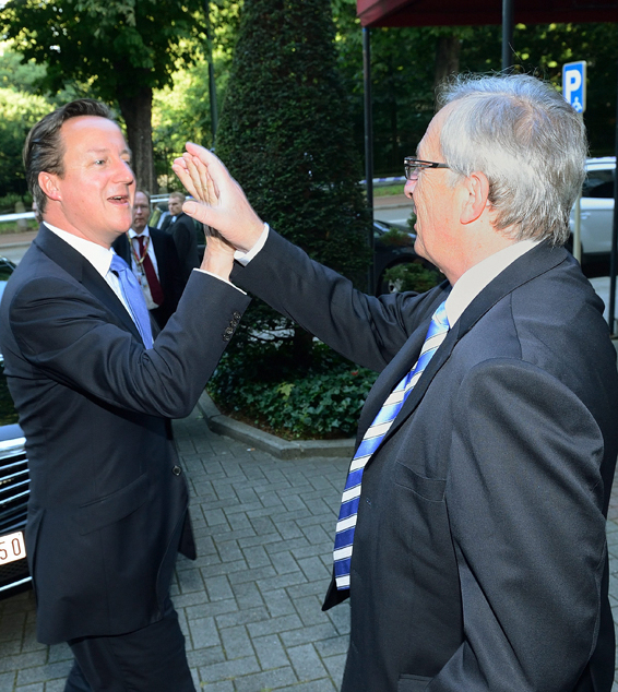 Jean-Claude Juncker receives David Cameron, British Prime Minister...epa04319307 A handout photograph made available by the European Commission showing new president of the European Commission Jean-Claude Juncker (R) receiving British Prime Minister, David Cameron as EU leaders met in Brussels, Belgium, 17 July 2014.  Jean-Claude Juncker, confirmed by the European Parliament on 15 July 2014 as the next European Commission president with only David Cameron and Hungary's Prime Minister Viktor Orban. EU leaders failed on 16 July 2014 to agree on top political appointments, successors need to be found most urgently for EU foreign policy chief Catherine Ashton and President Herman Van Rompuy.  EPA/LIEVEN CREEMERS / EUROPEAN COMMISSION / HANDOUT  HANDOUT EDITORIAL USE ONLY/NO SALES