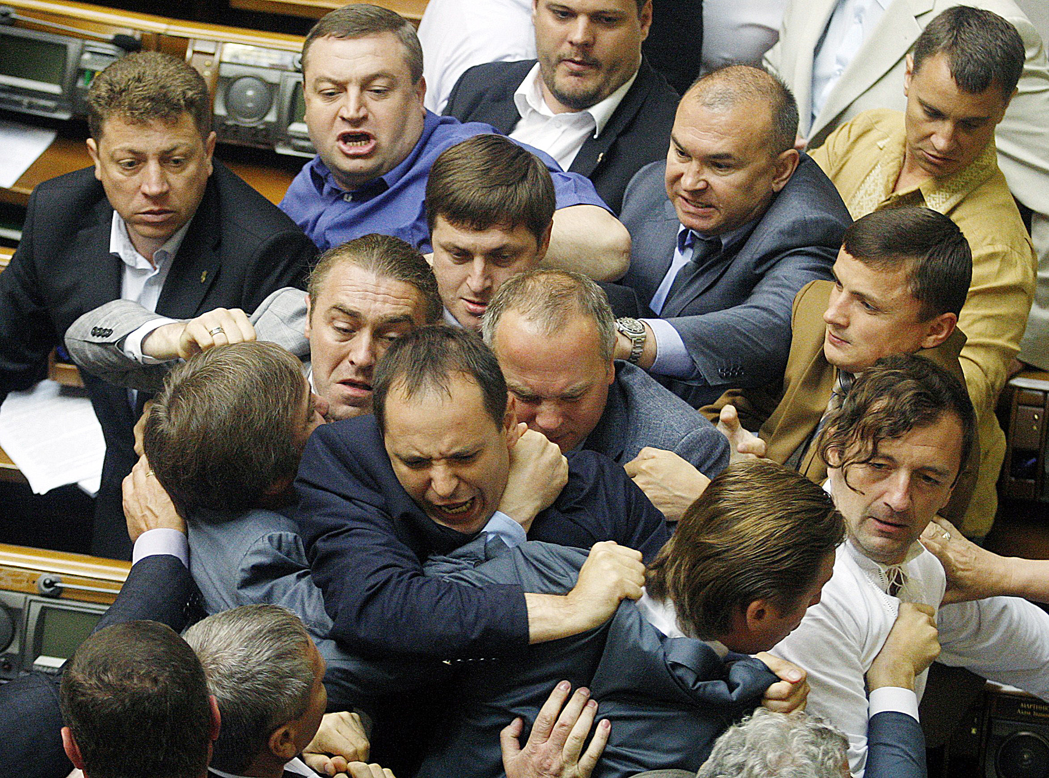 Deputies of the majority fight with the ...Deputies of the majority fight with the deputies of Regions Party, party of former Ukrainian President Viktor Yanukovych, during the debates in the parliament in Kiev on July 22, 2014. The parliament adopted the presidential decree on partial mobilization. AFP PHOTO/ STRSTR/AFP/Getty Images